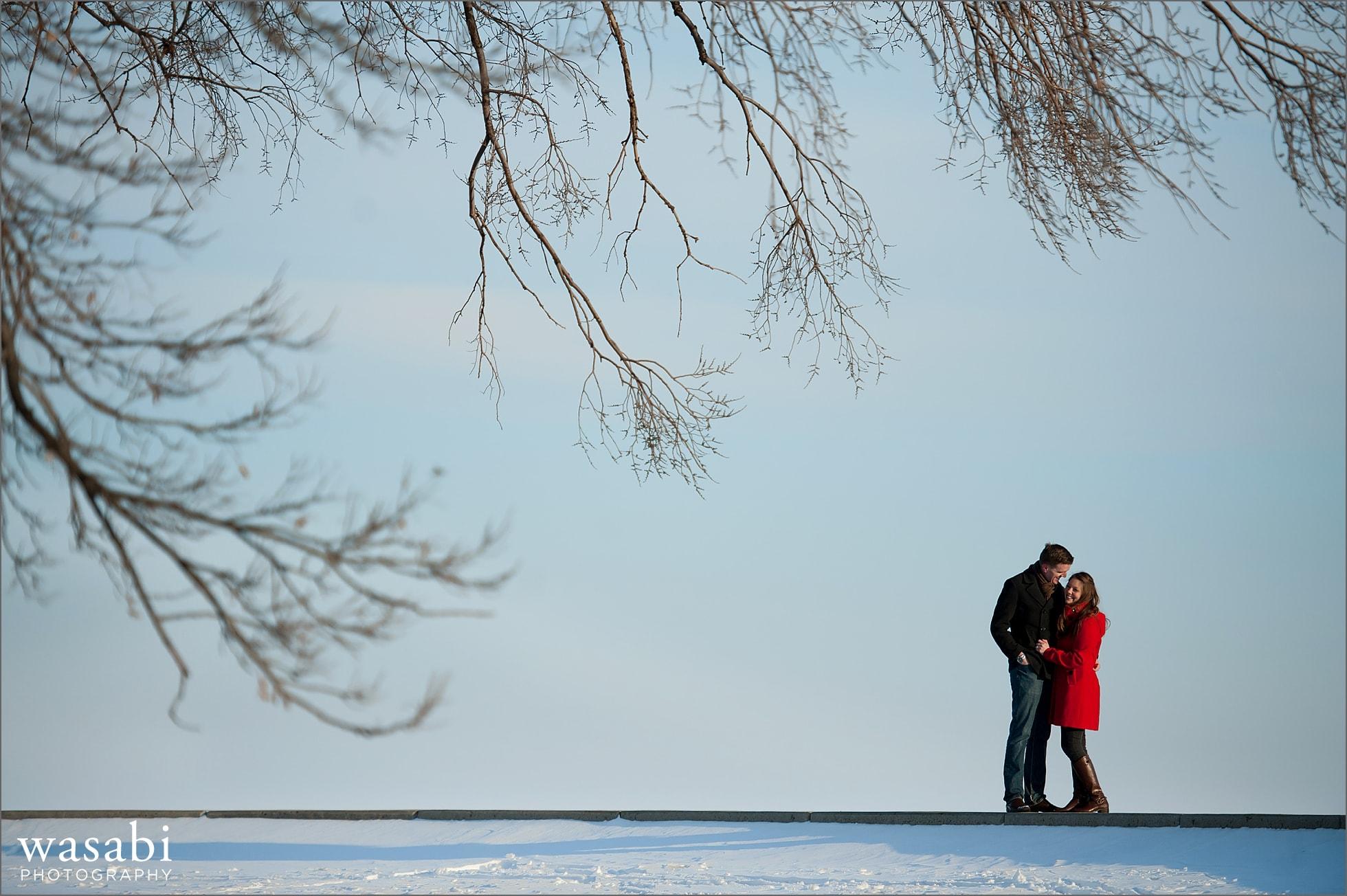09 Belmont harbor winter engagement photos