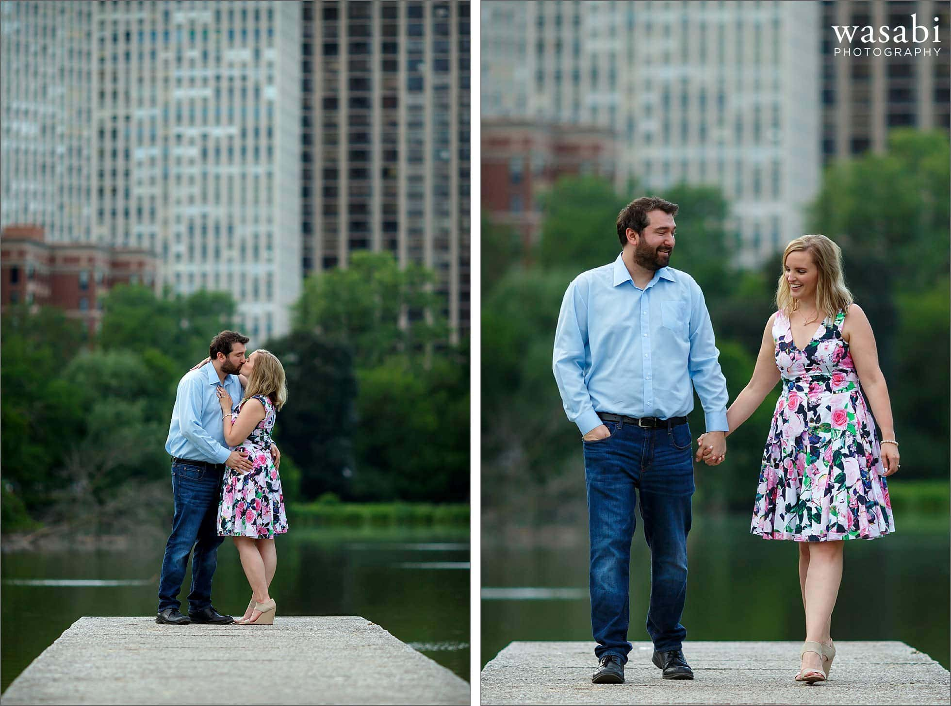 a couple holds hands while walking along the casting pier on the North Pond of Lincoln Park in Chicago