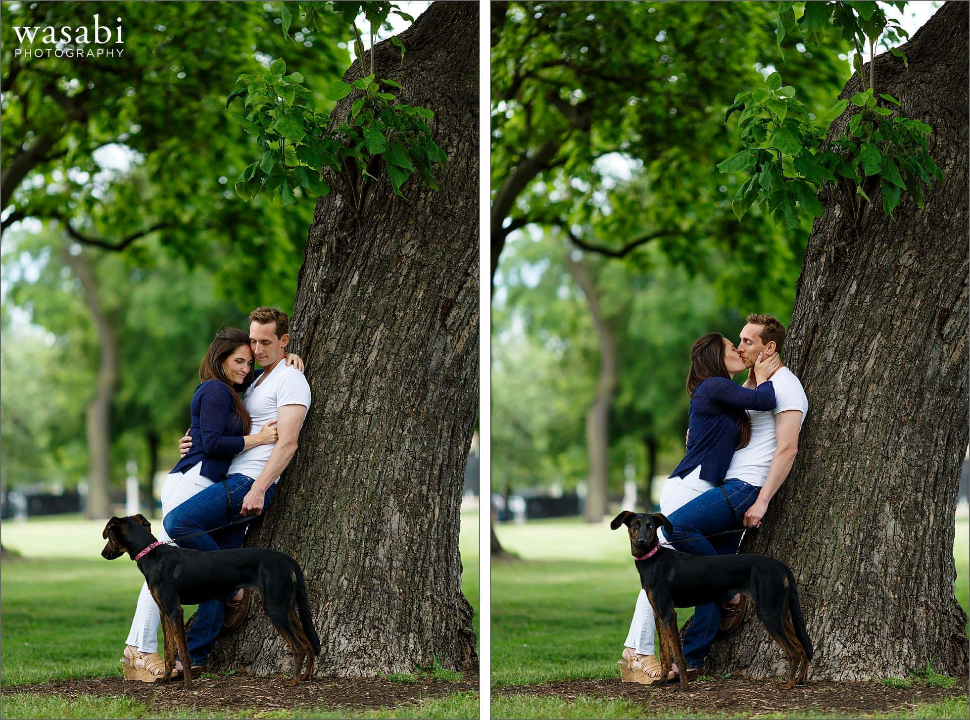 couple poses for Union Park engagement photos with their dog in Chicago