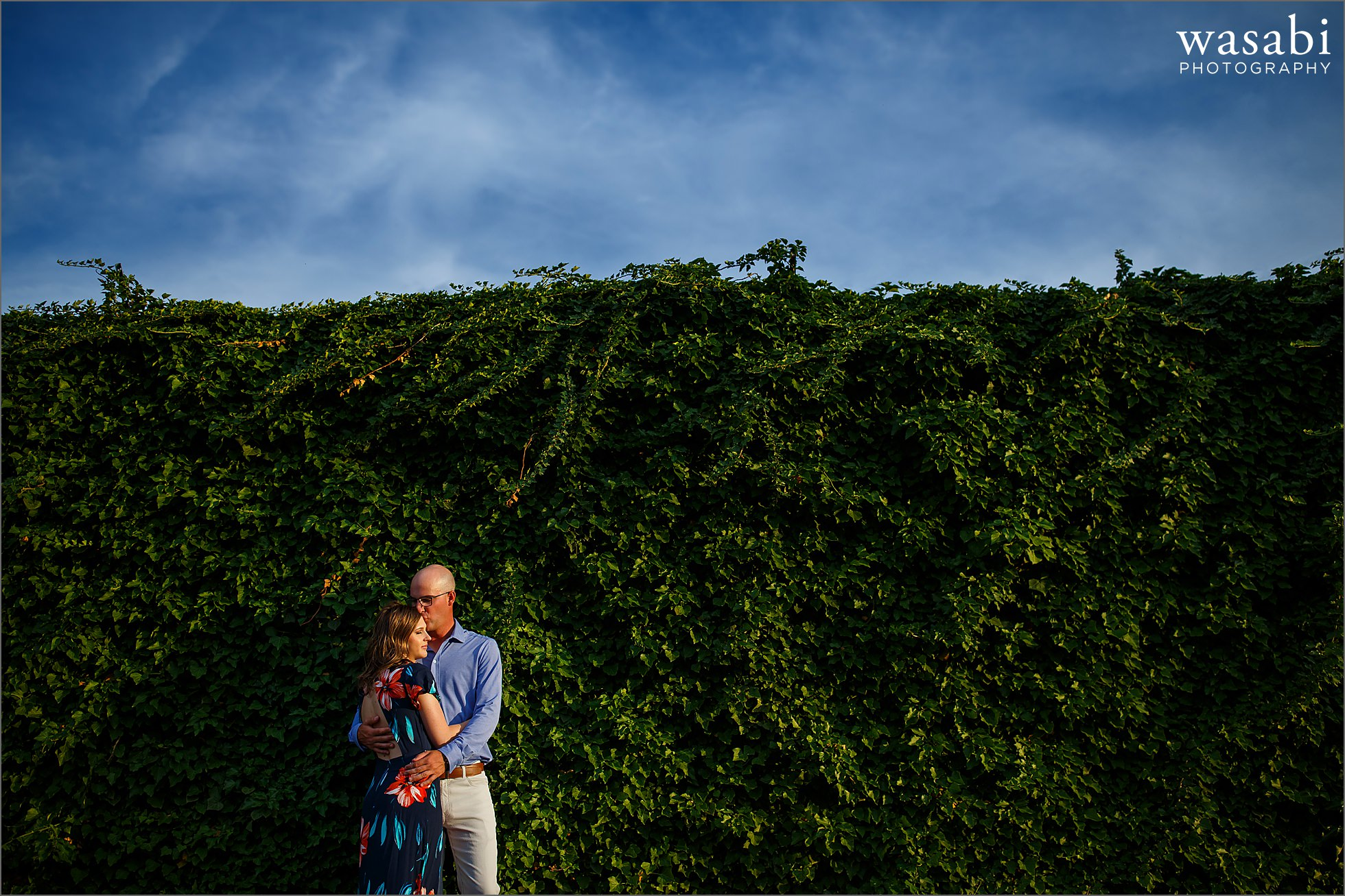 couple kisses against a wall of ivy for engagement photos in downtown Royal Oak, Michigan