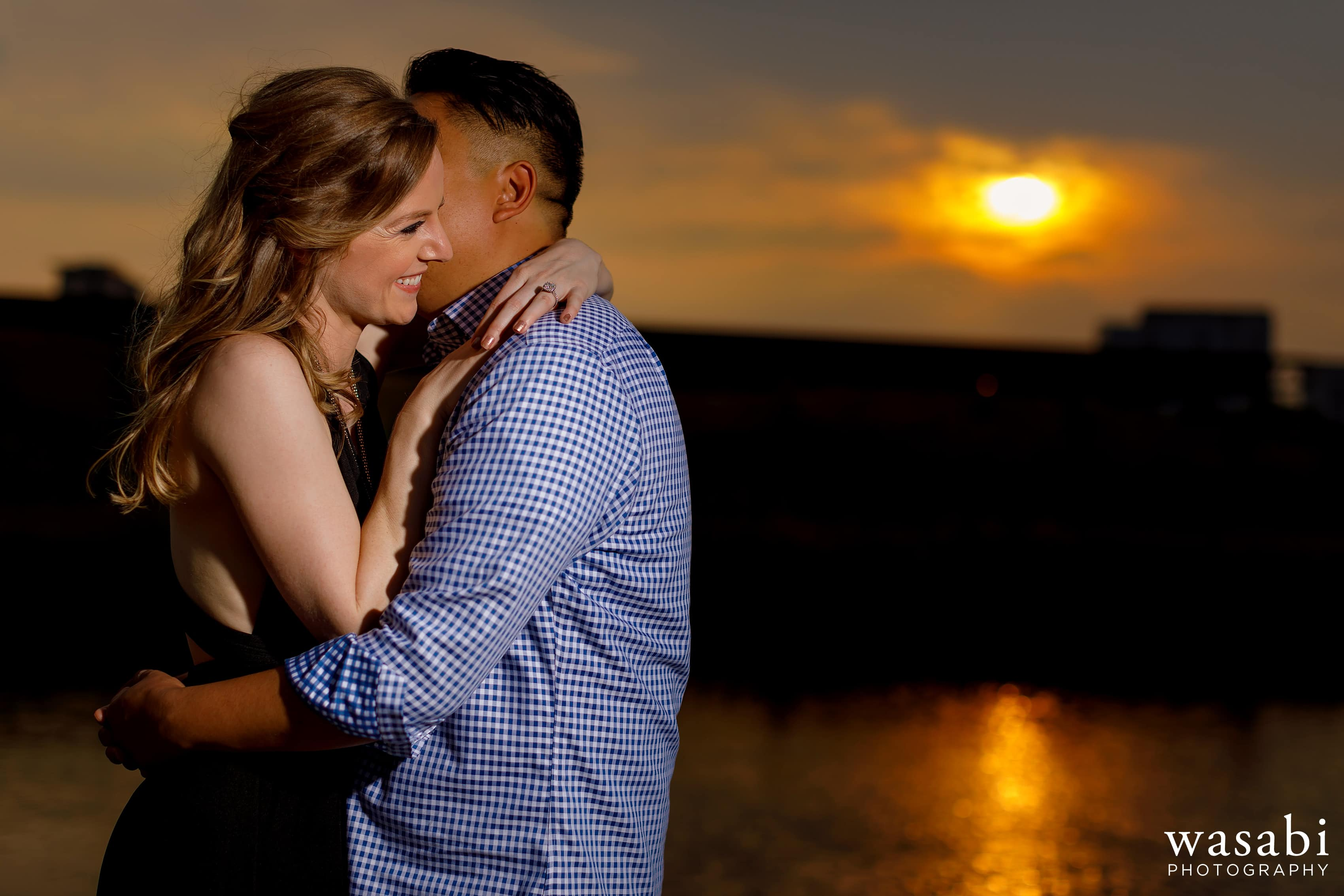 sunset photo during Northerly Island engagement session in Chicago