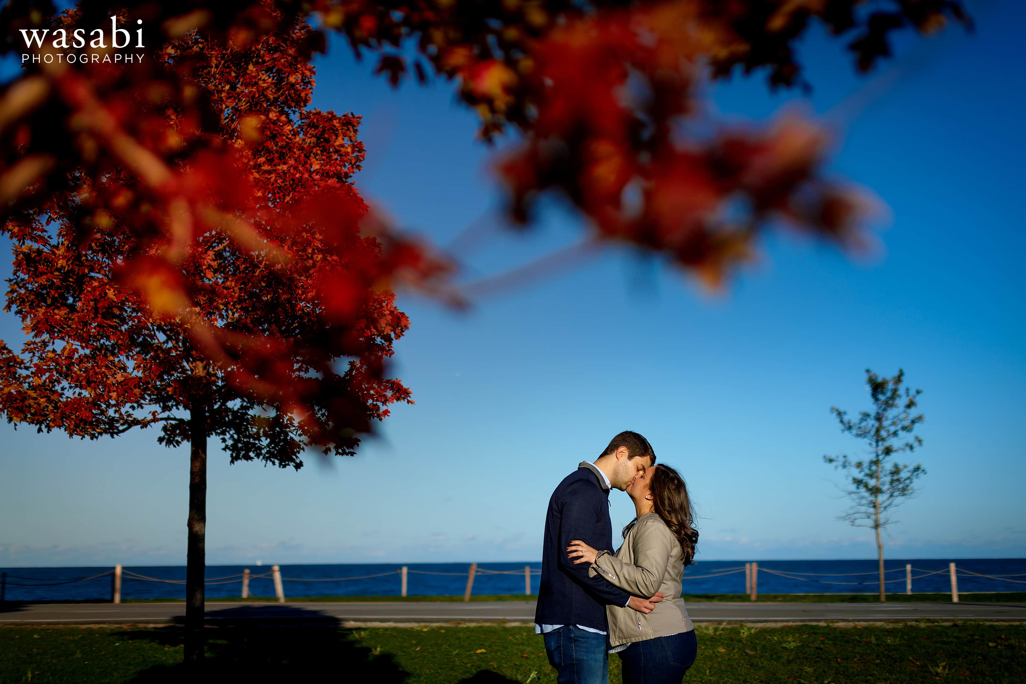 couple kisses with Lake Michigan and red fall color trees in the background at Fullerton Ave. Beach in Chicago