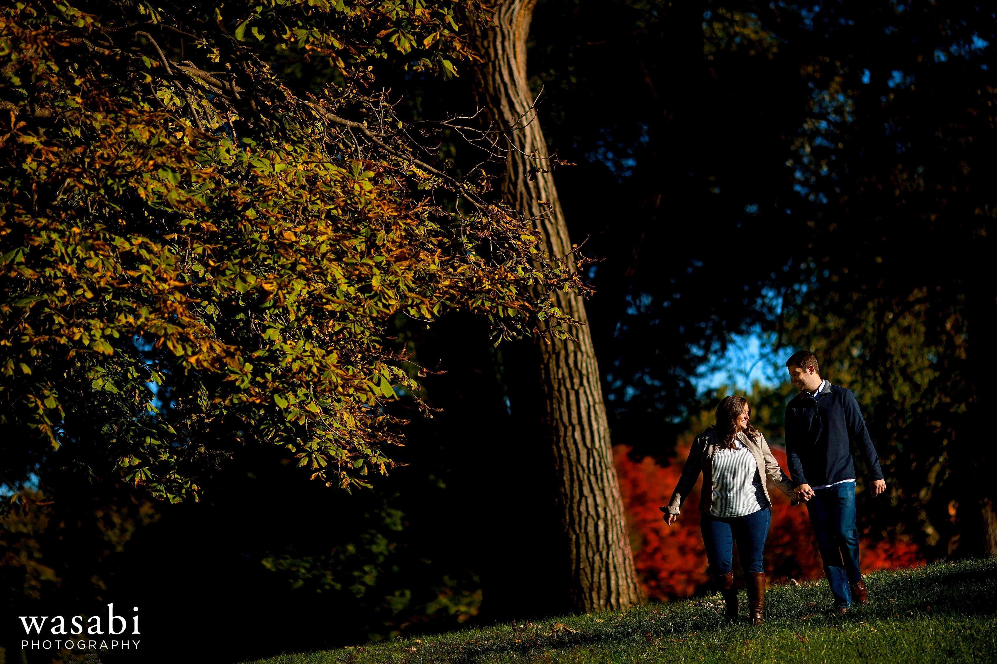 couple walks down a hill in Lincoln Park with fall color trees in the background in Chicago