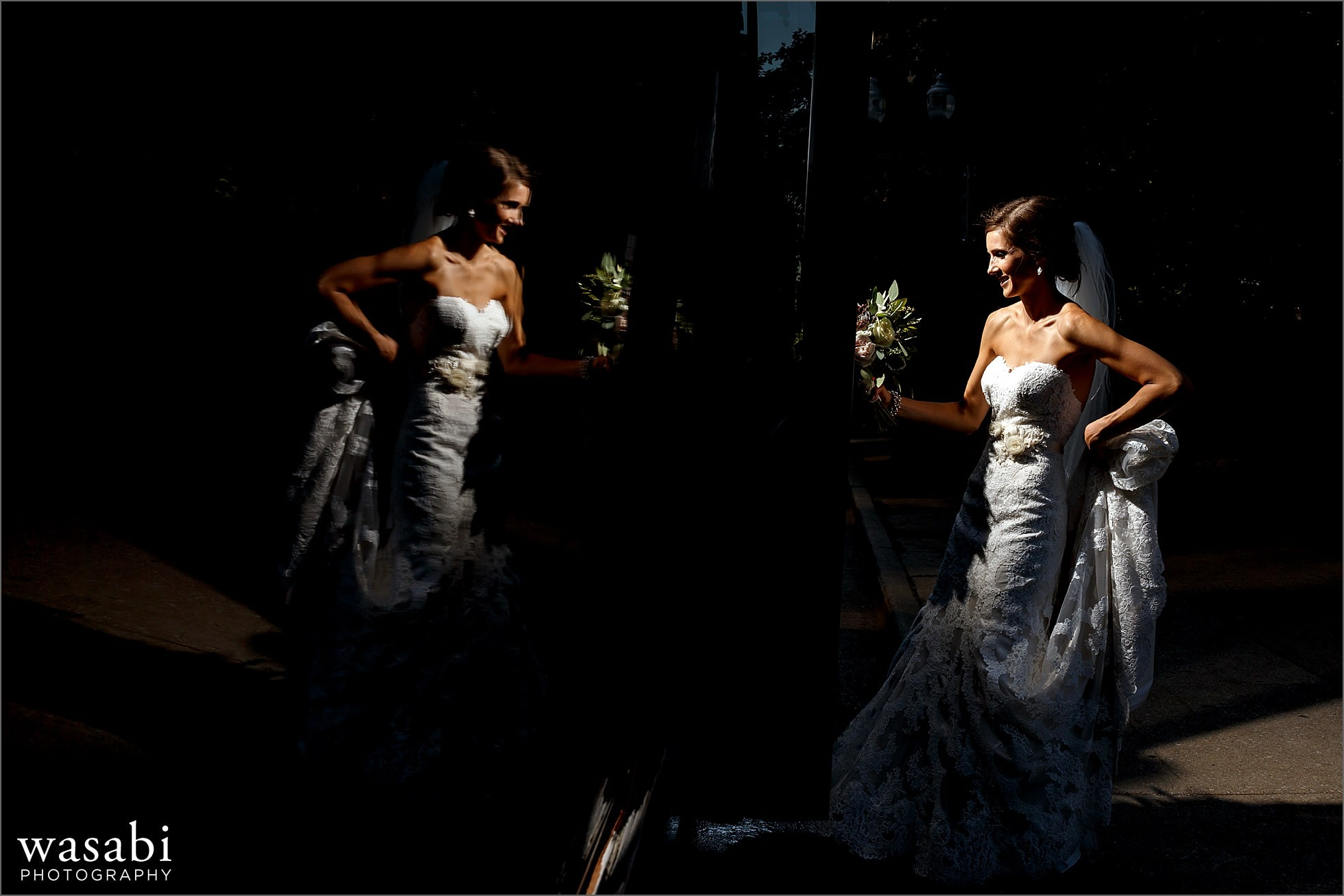 bride reflection getting on bus