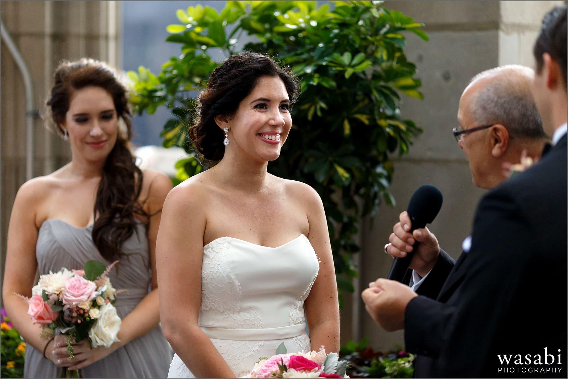 bride looking at groom chicago wedding photos