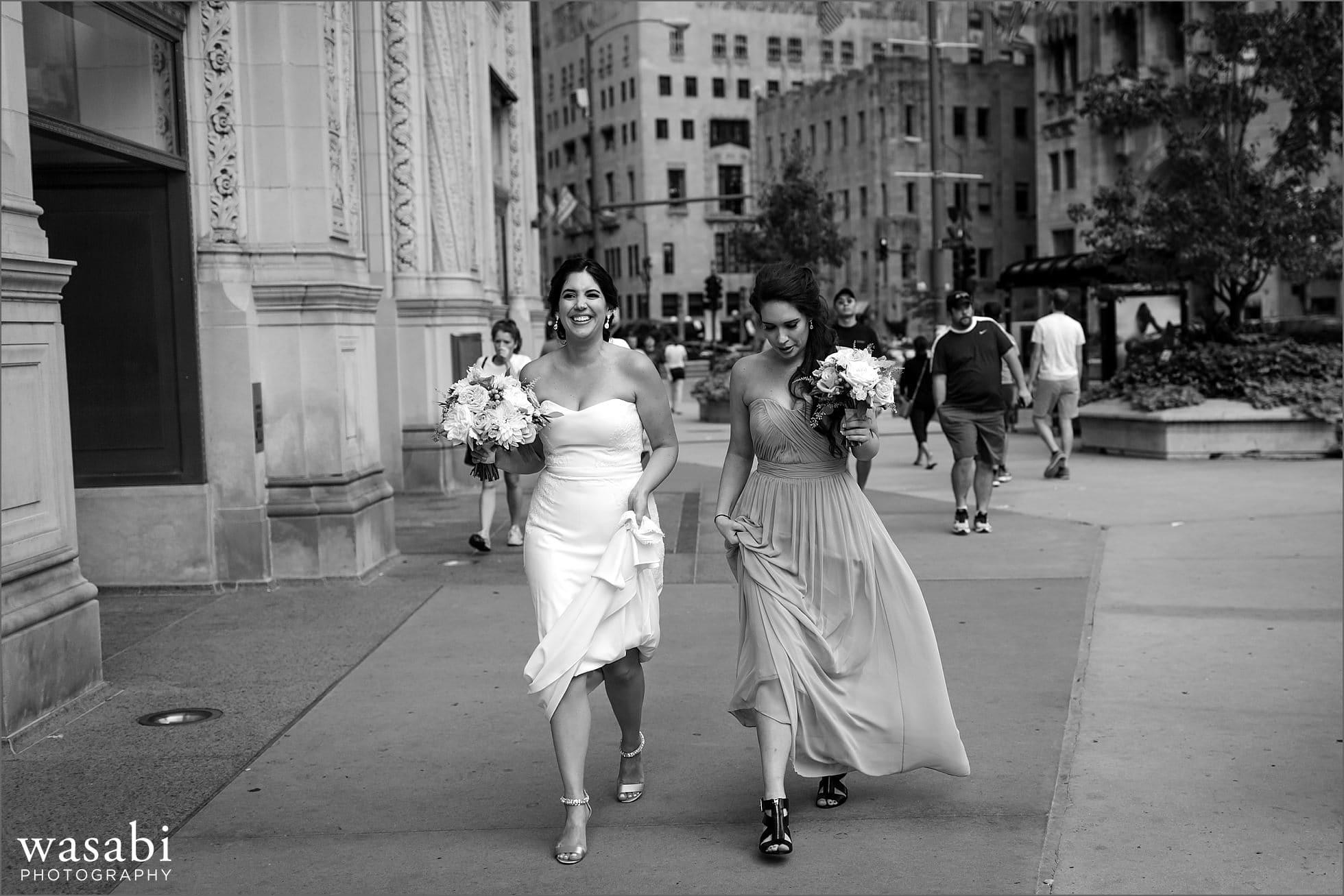 bride walking down michigan ave wedding