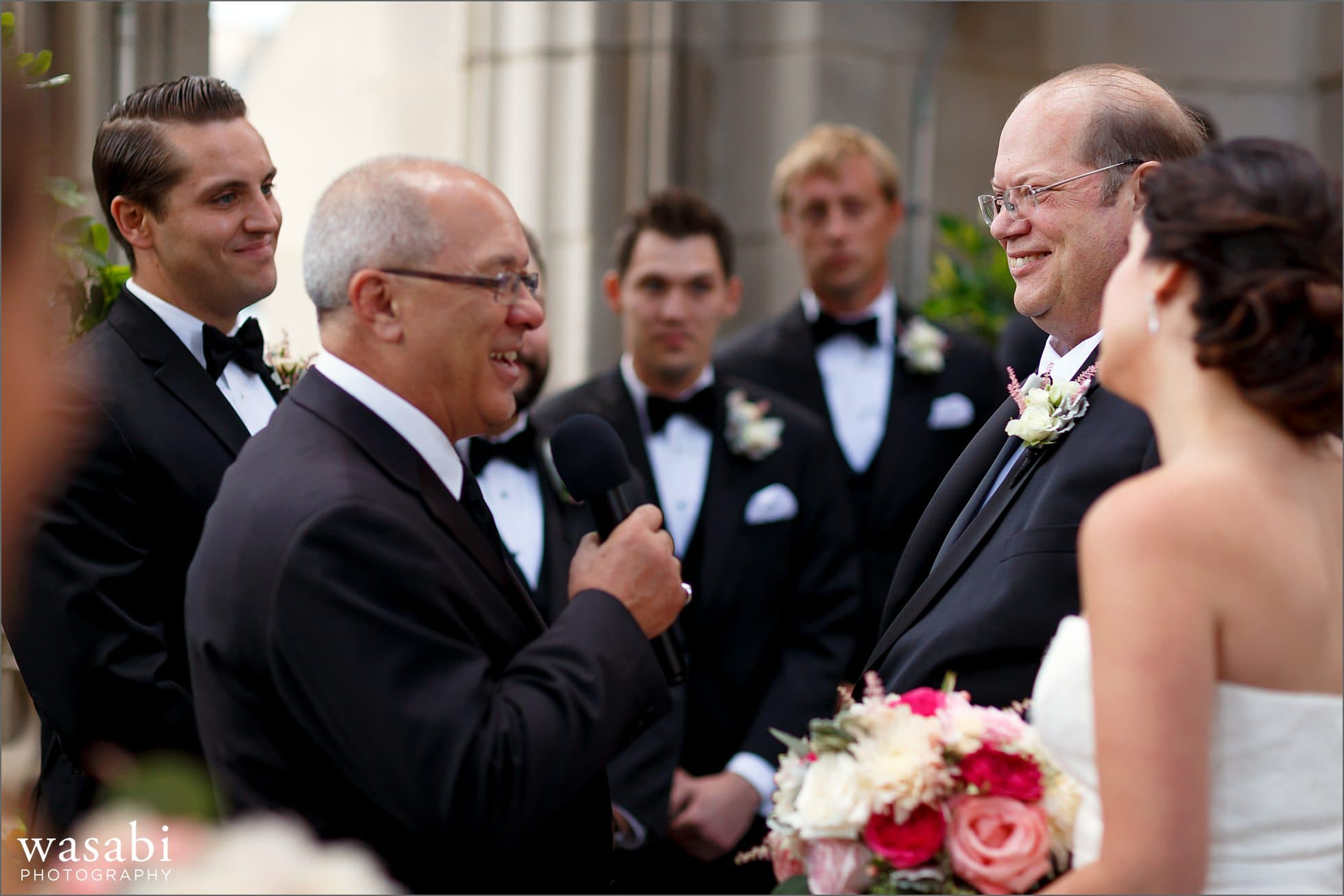 bride with dad walking down aisle chicago wedding