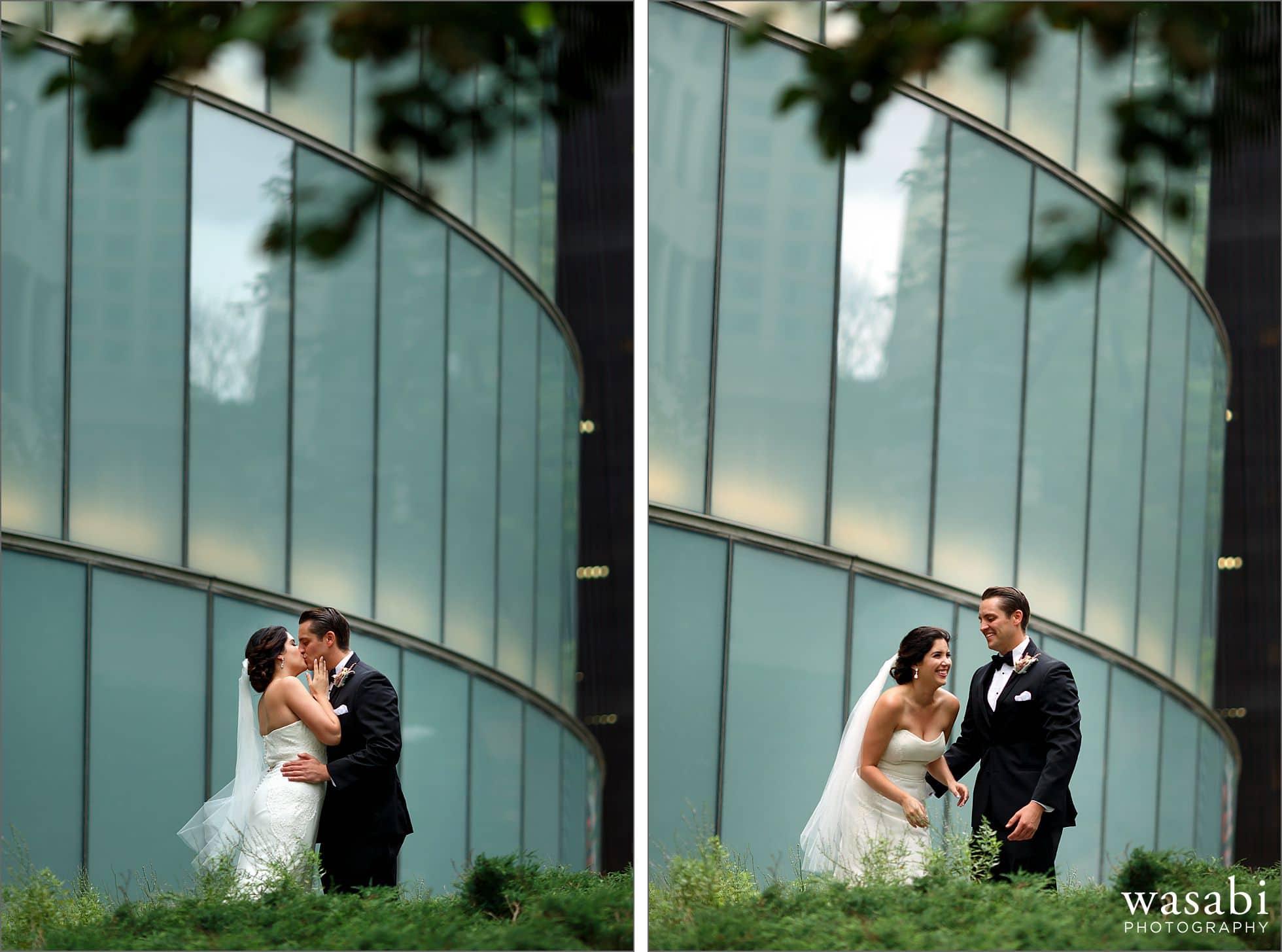 downtown chicago riverwalk wedding portraits