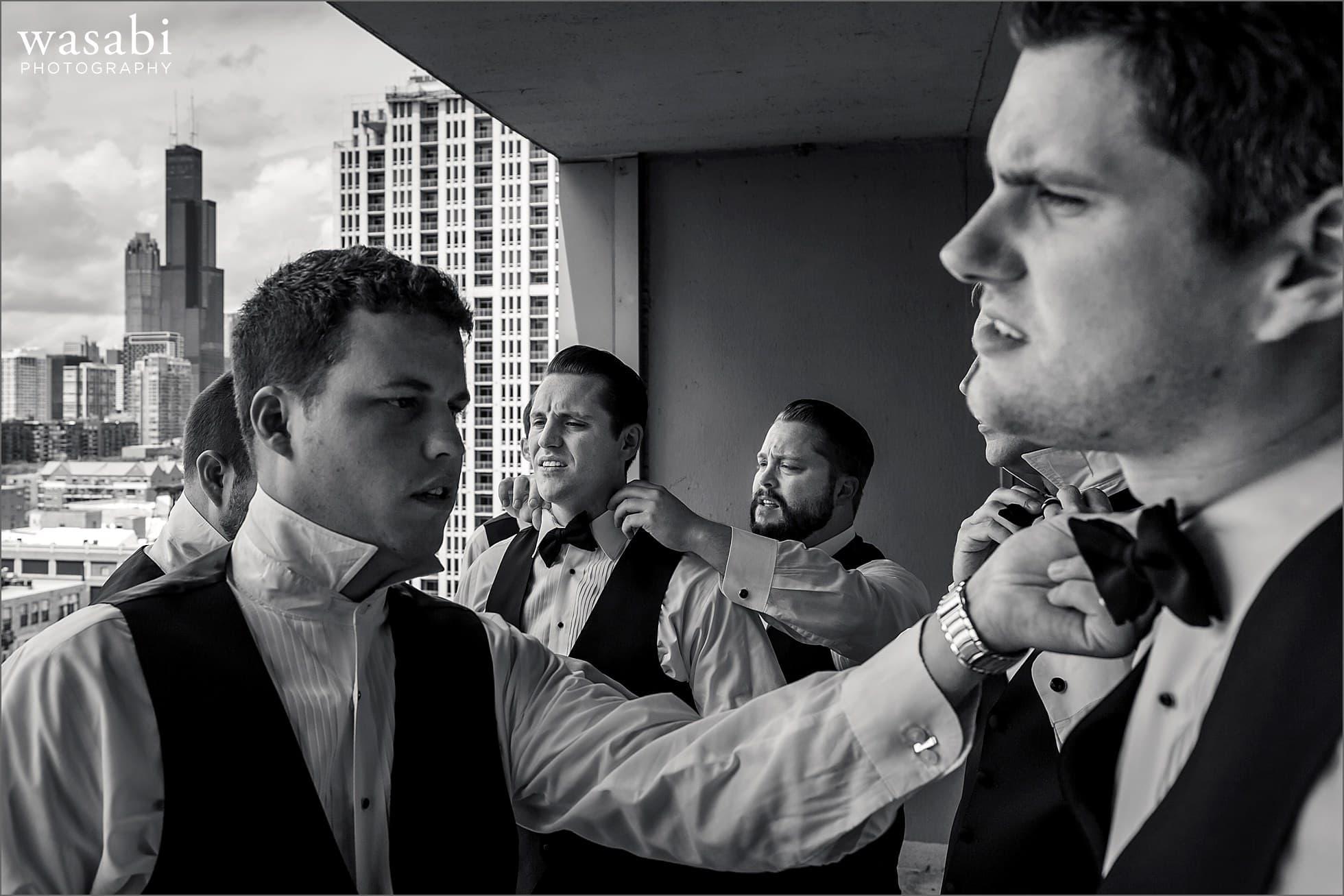 groom getting ready south loop chicago wedding