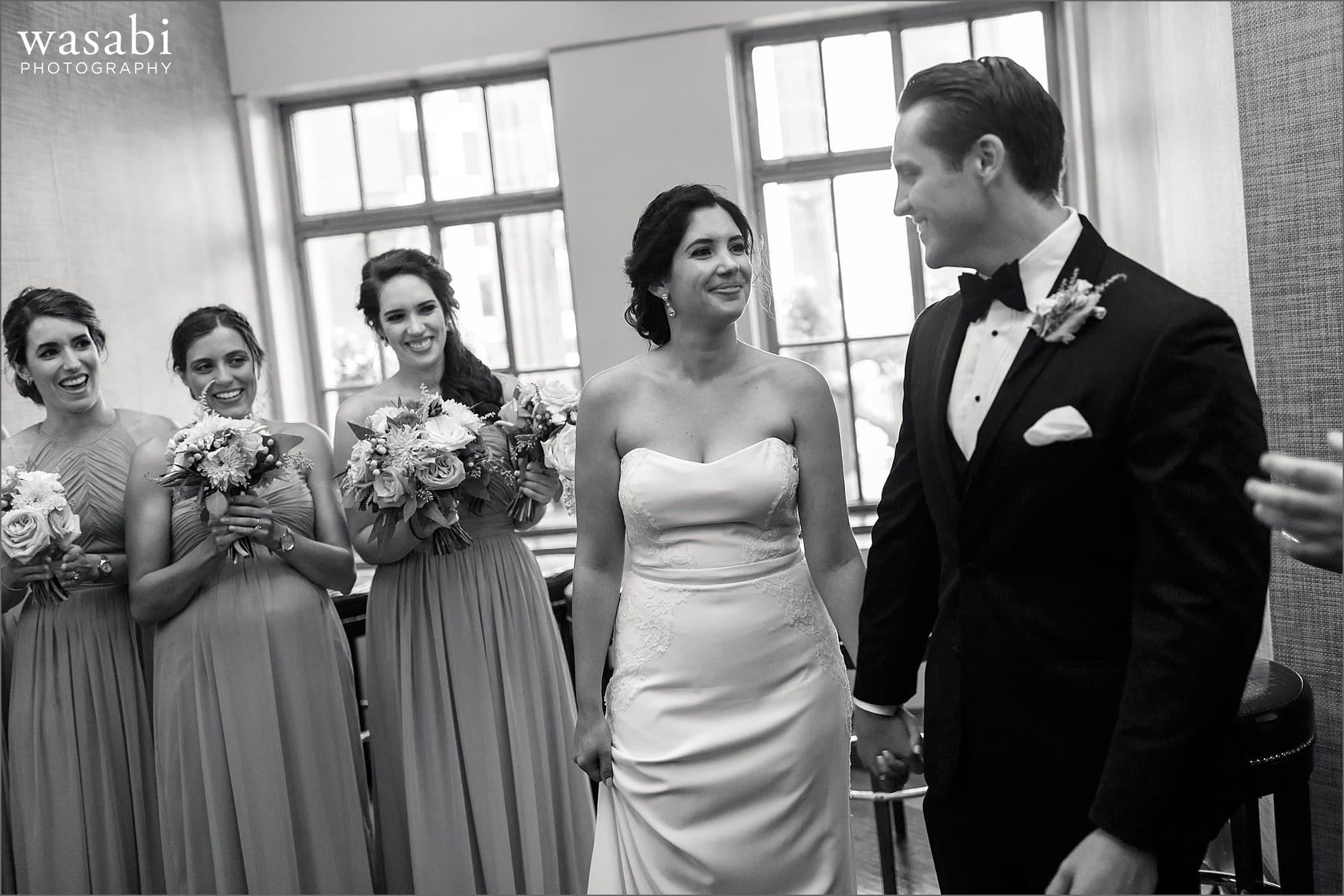 tribune tower crown indoor wedding ceremony