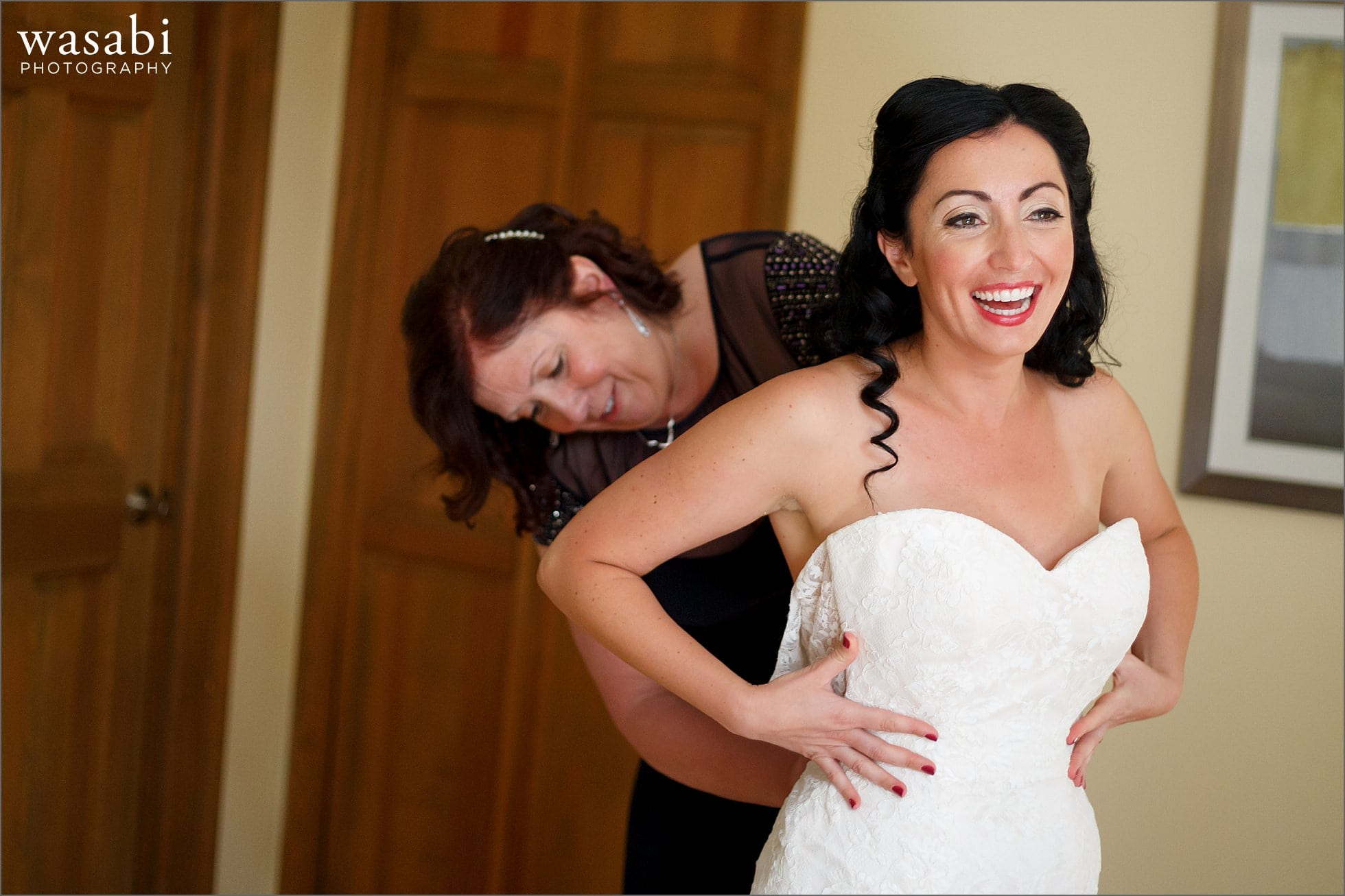 bride getting ready at home with family