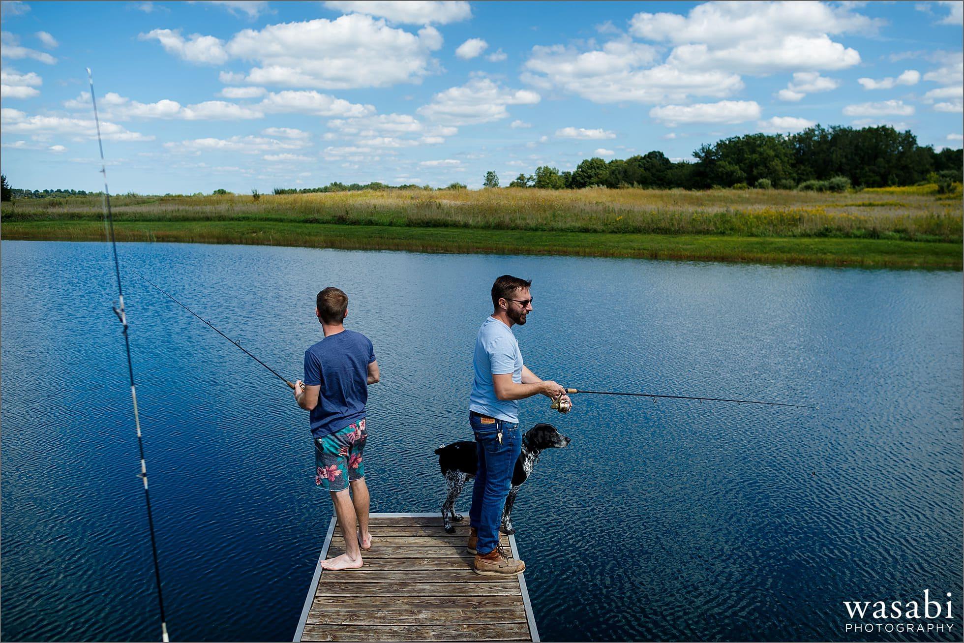 groom and best man fishing before wedding