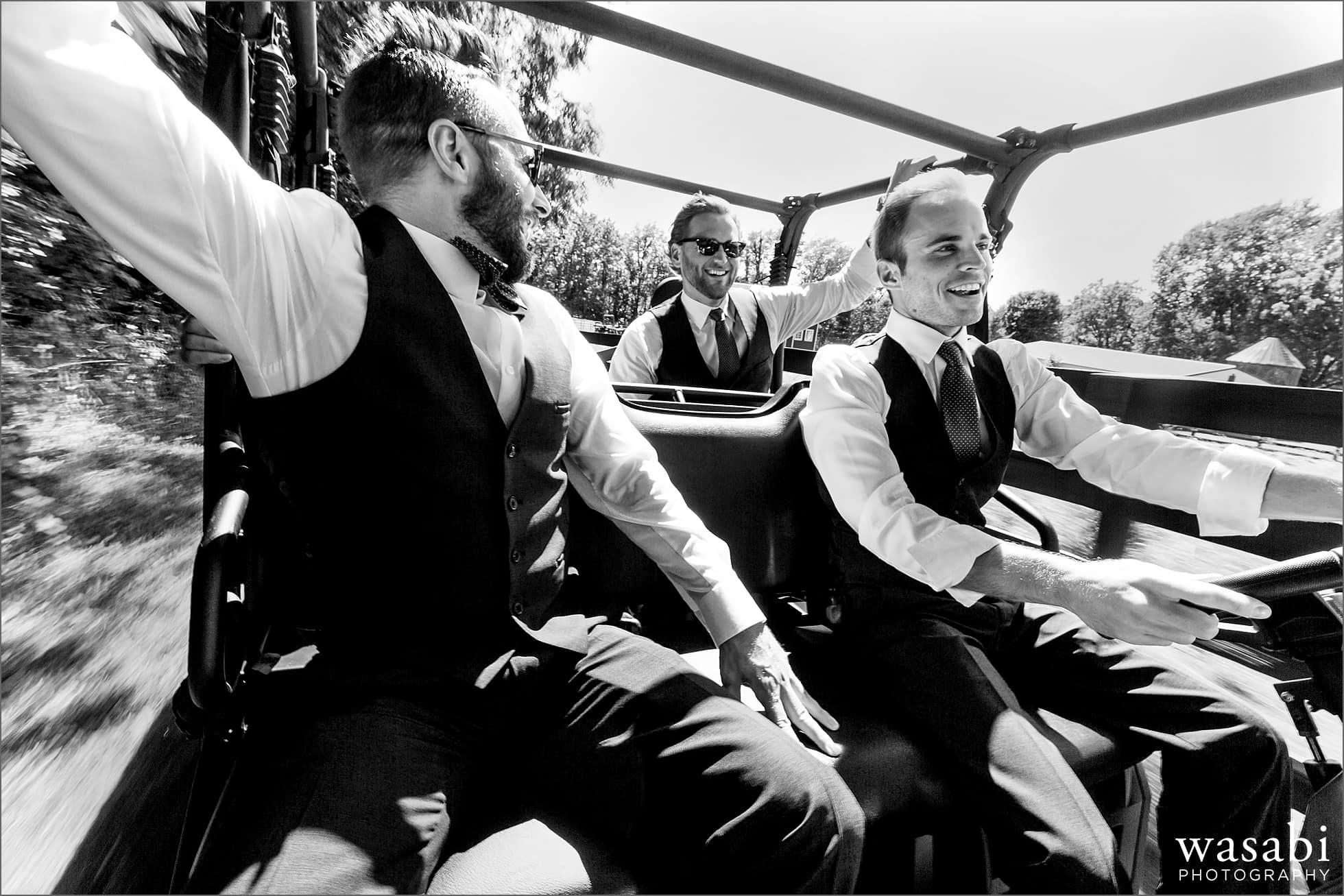 groomsmen ride atv before wedding