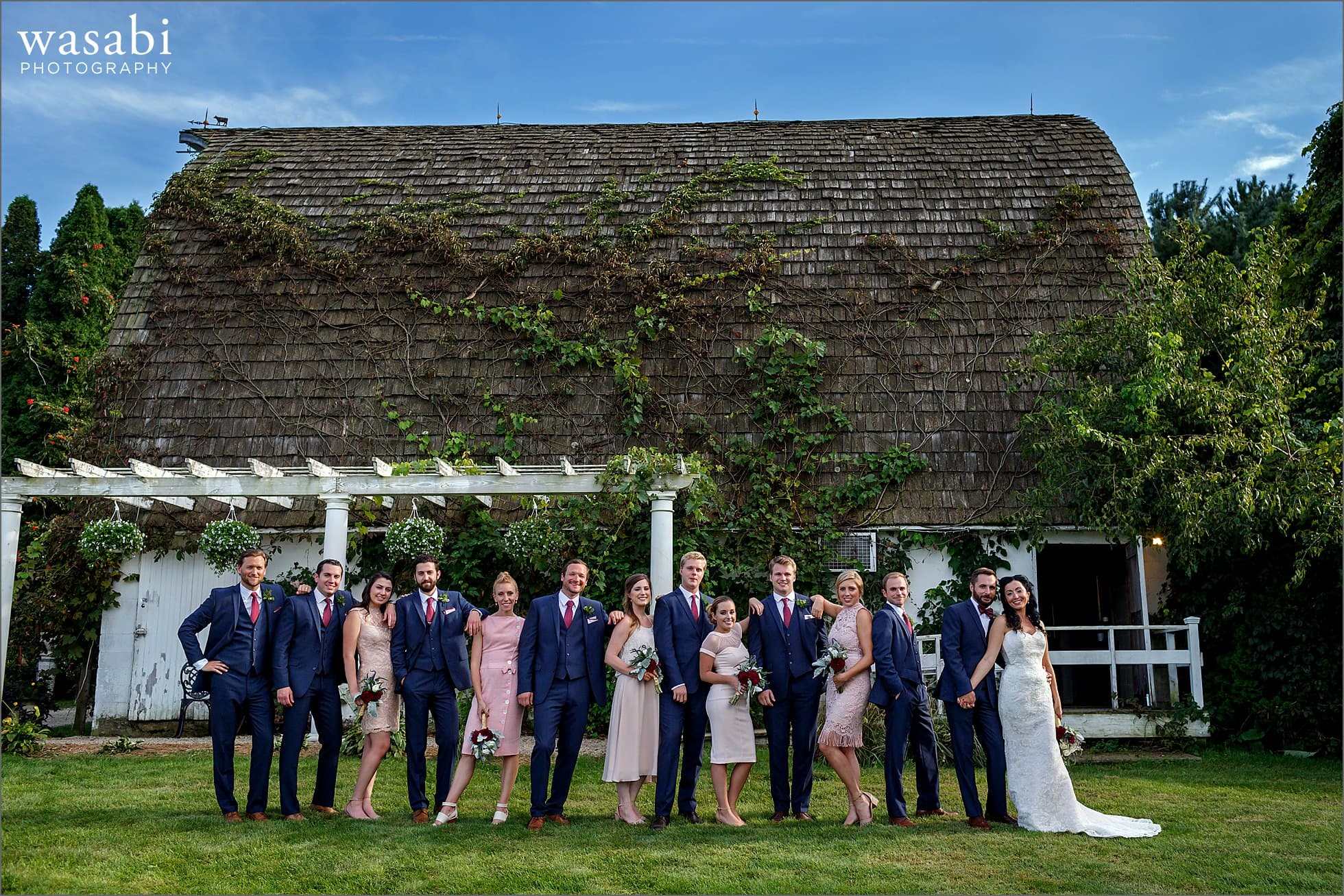 willow harbor vineyards barn wedding party photo
