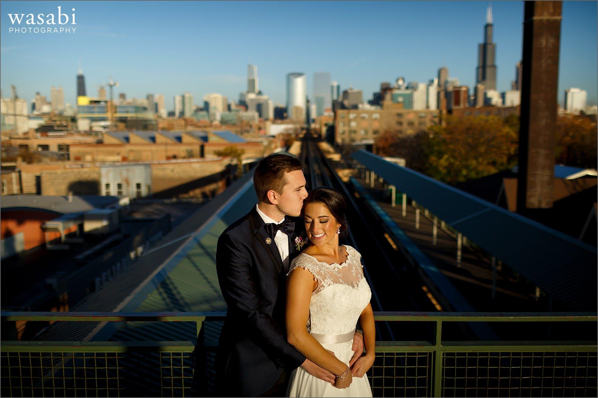 chicago el train ashland wedding photos