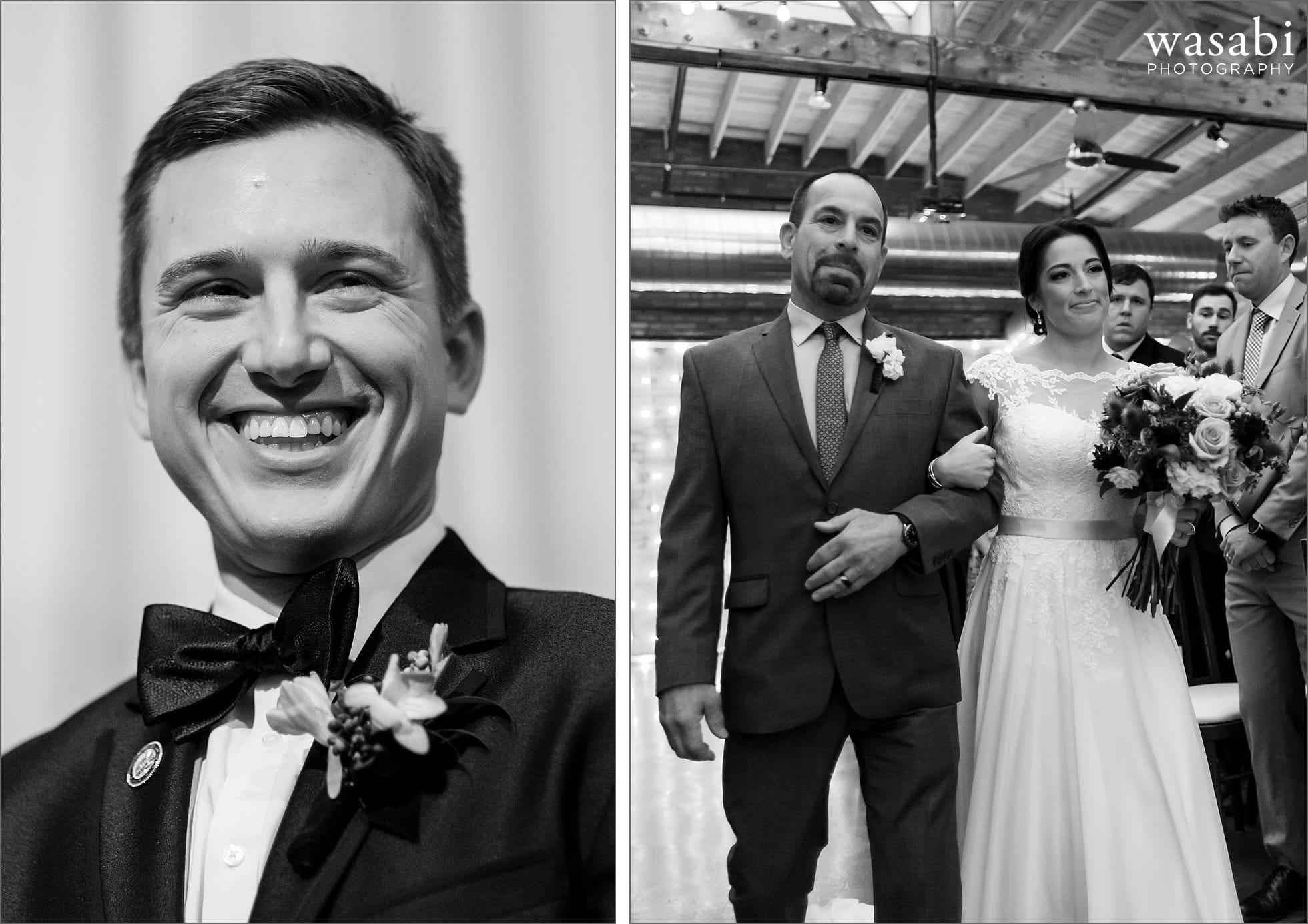 groom sees bride walking down aisle photo