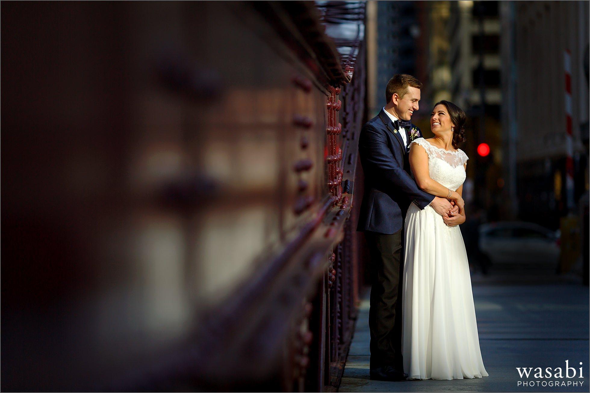 lasalle street bridge chicago wedding photos