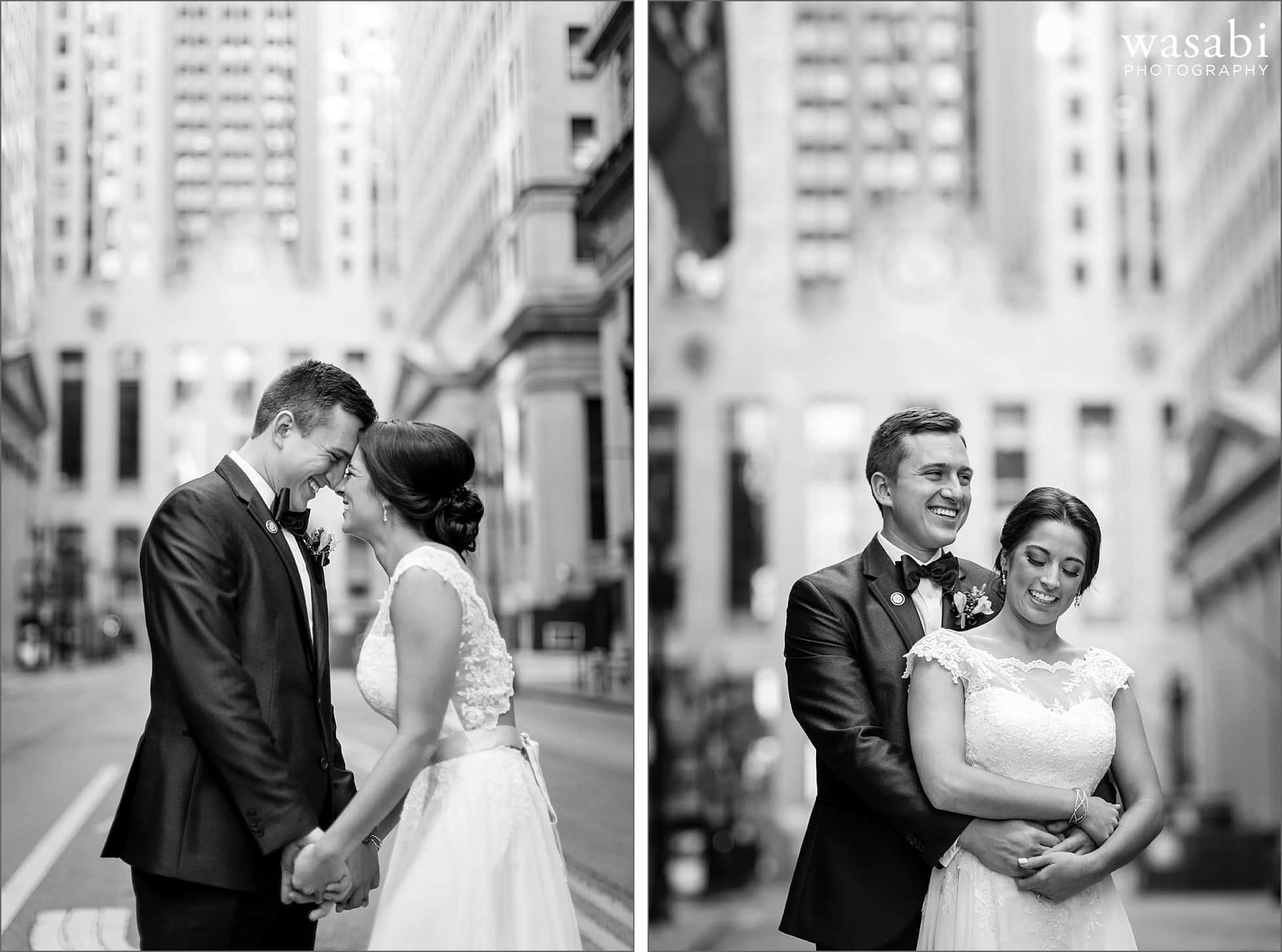 lasalle street chicago wedding photos