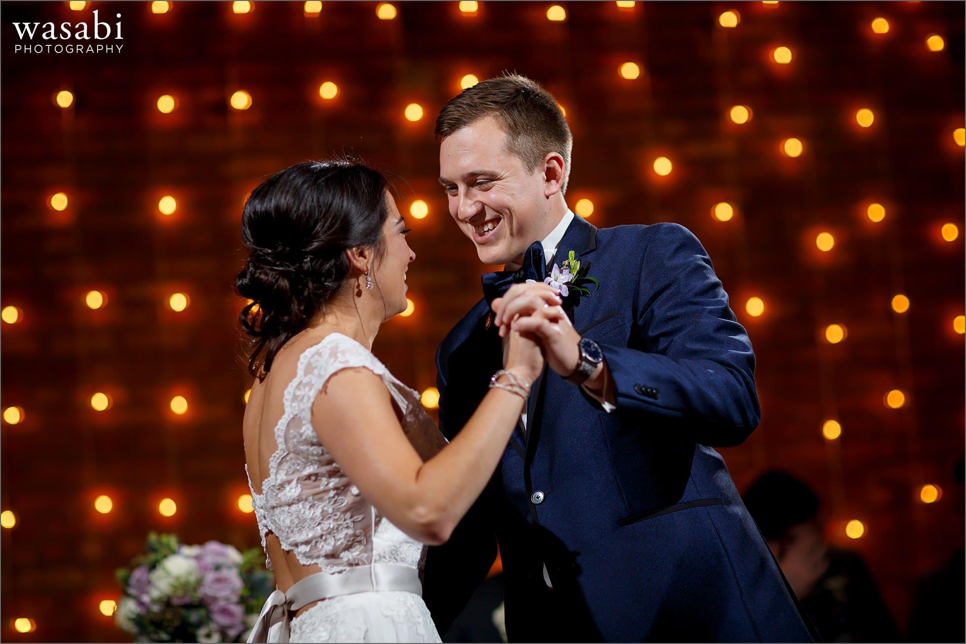 loft on lake reception first dance wedding photos