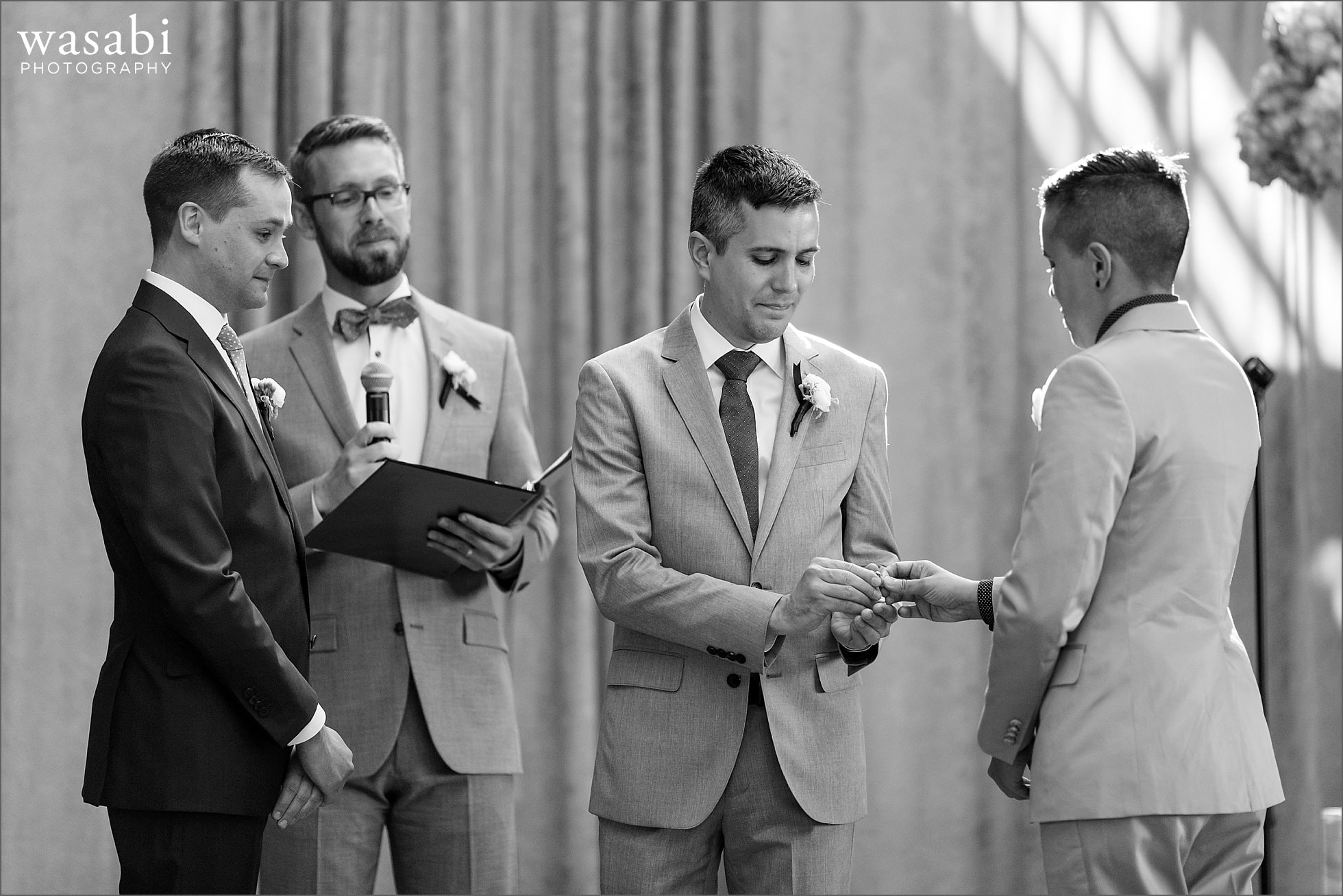 Groom gets ring from his sister during wedding ceremony