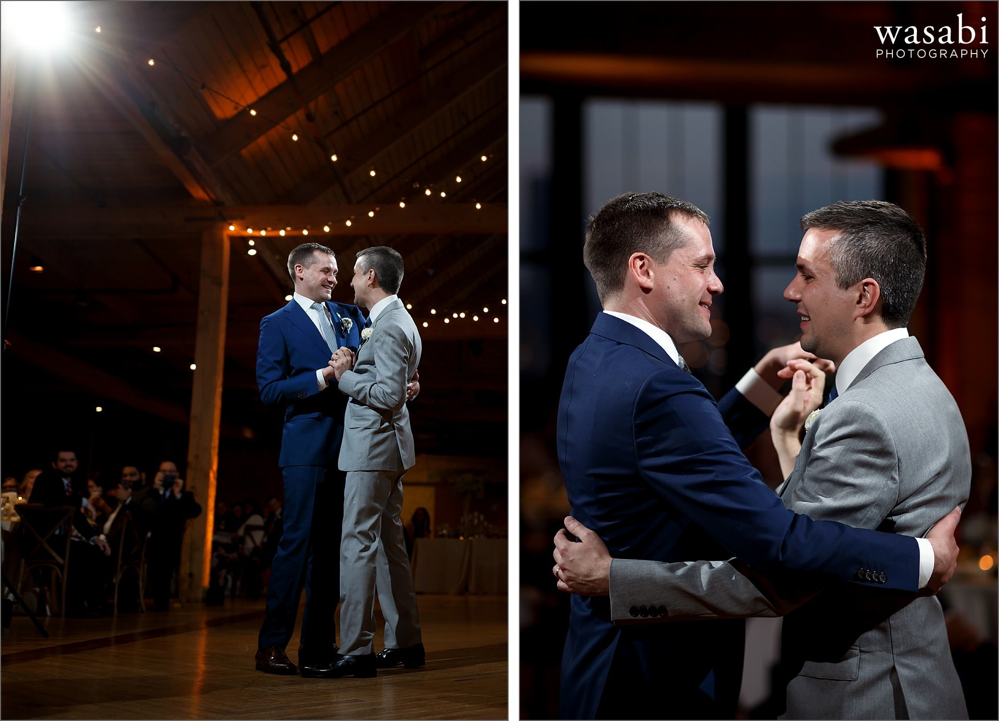 grooms share their first dance at Skyline Loft Bridgeport Art Center