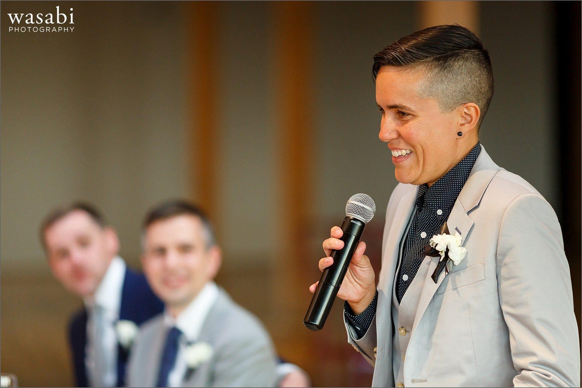 Grooms sister best woman toast during wedding reception at Bridgeport Art Center