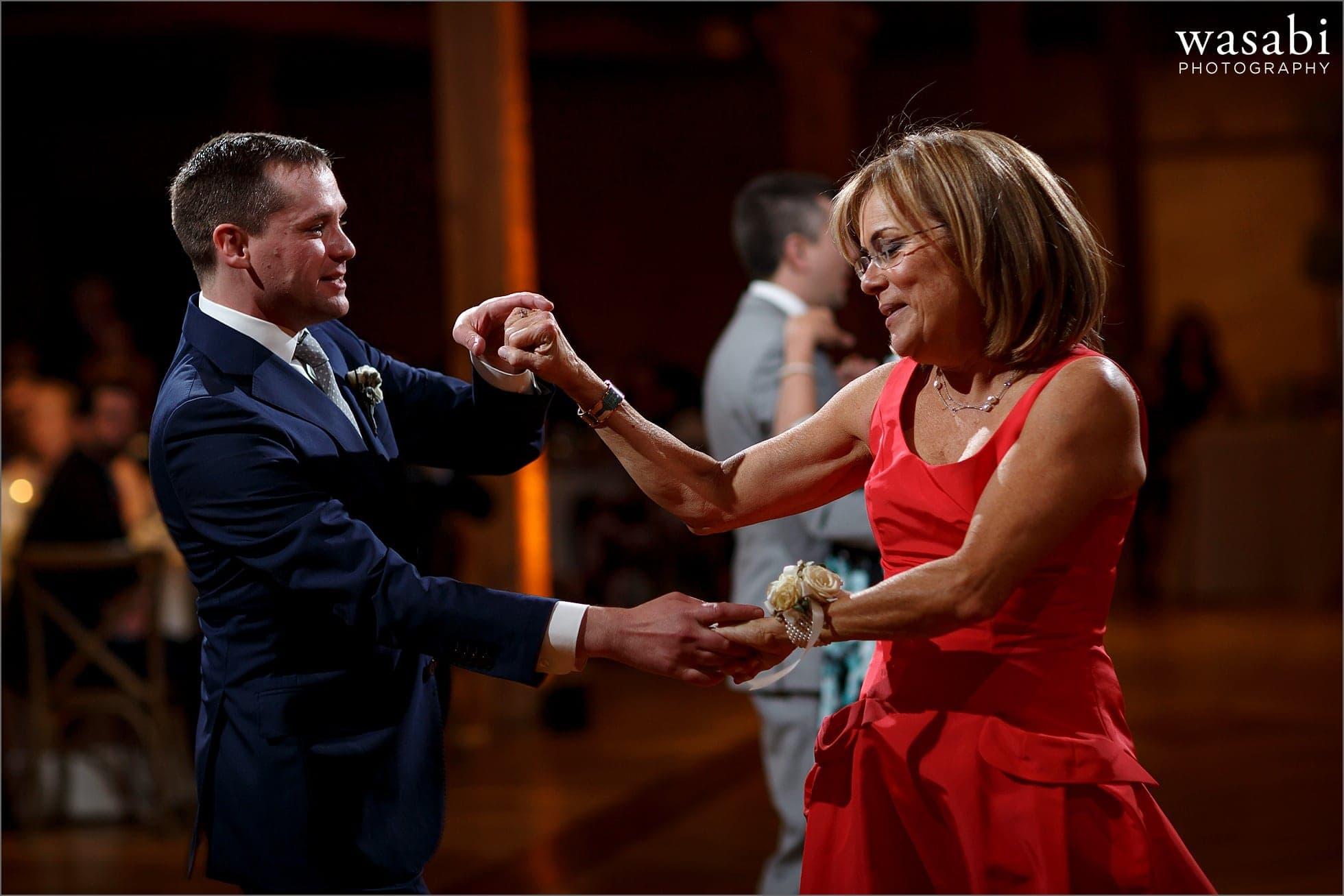 Mother son wedding reception first dance at Bridgeport Art Center