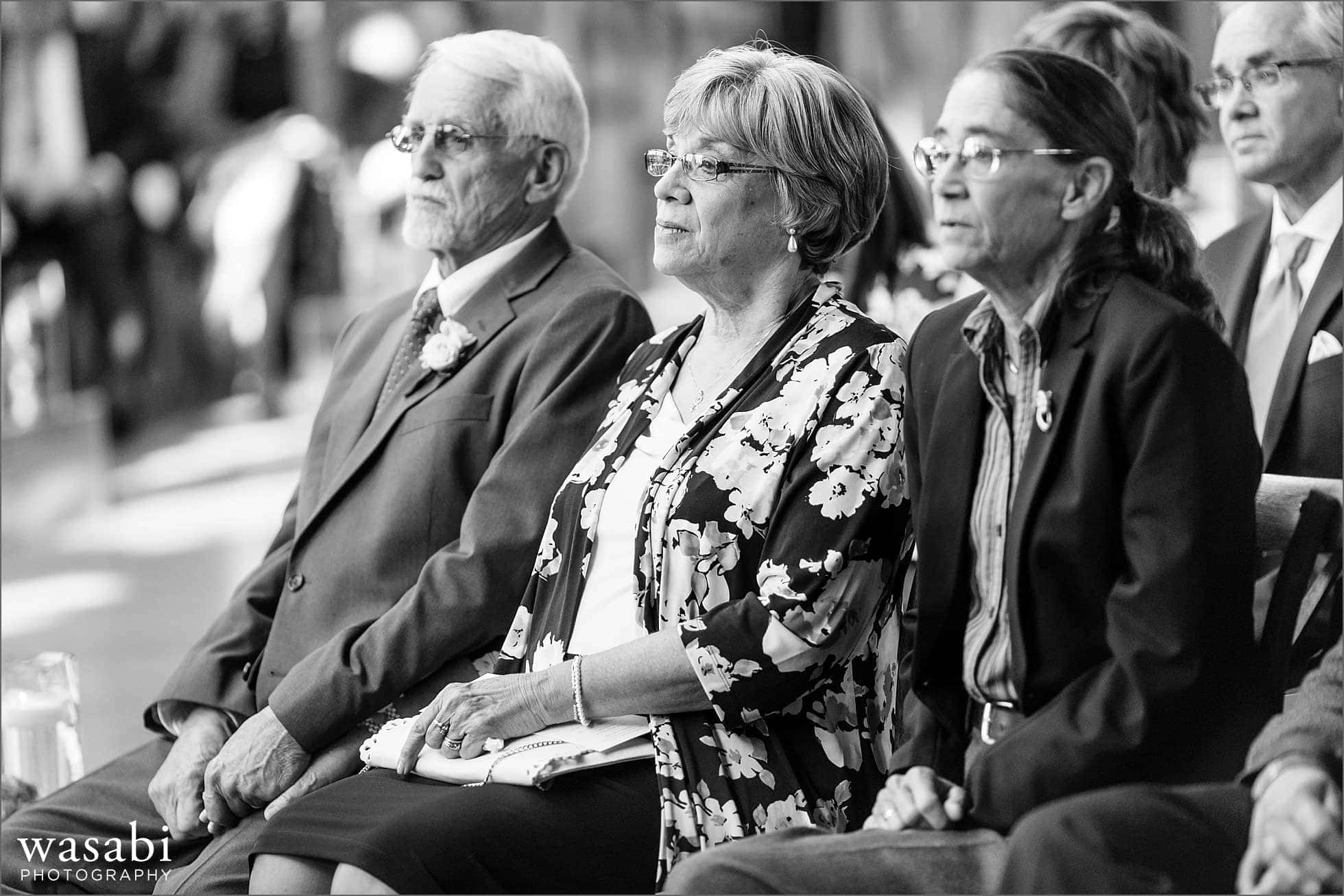parents watch wedding ceremony at Bridgeport Art Center
