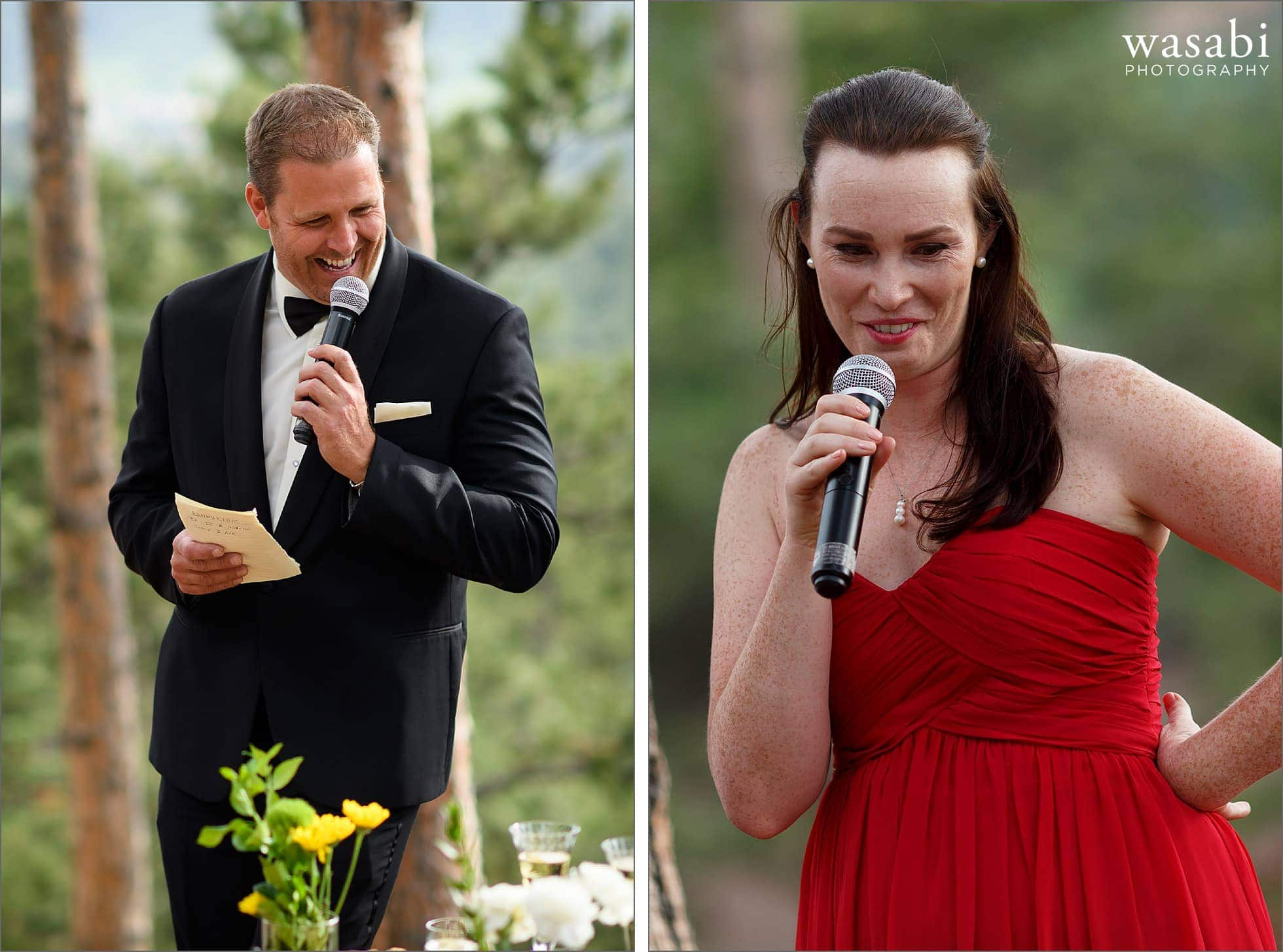 best man and maid of honor toast the couple during their home wedding reception on lookout mountain in Golden Colorado