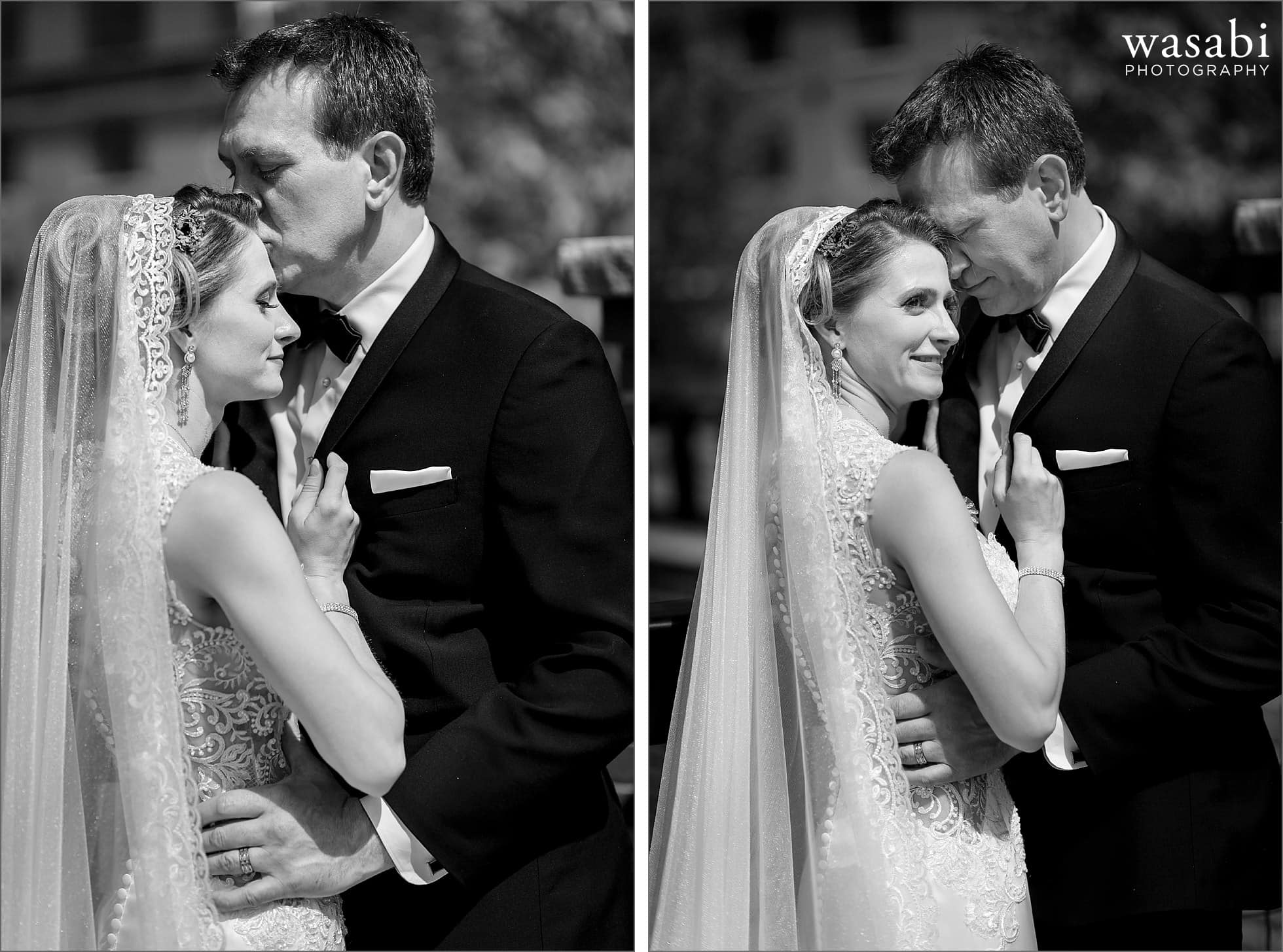 black and white close up portraits of bride and groom posing for portraits