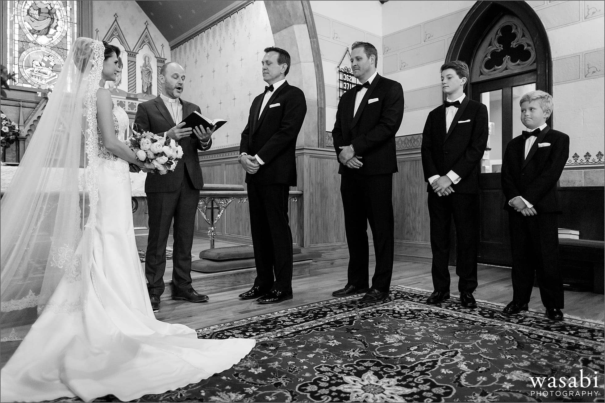 black and white wedding ceremony at Calvary Church in downtown Golden Colorado