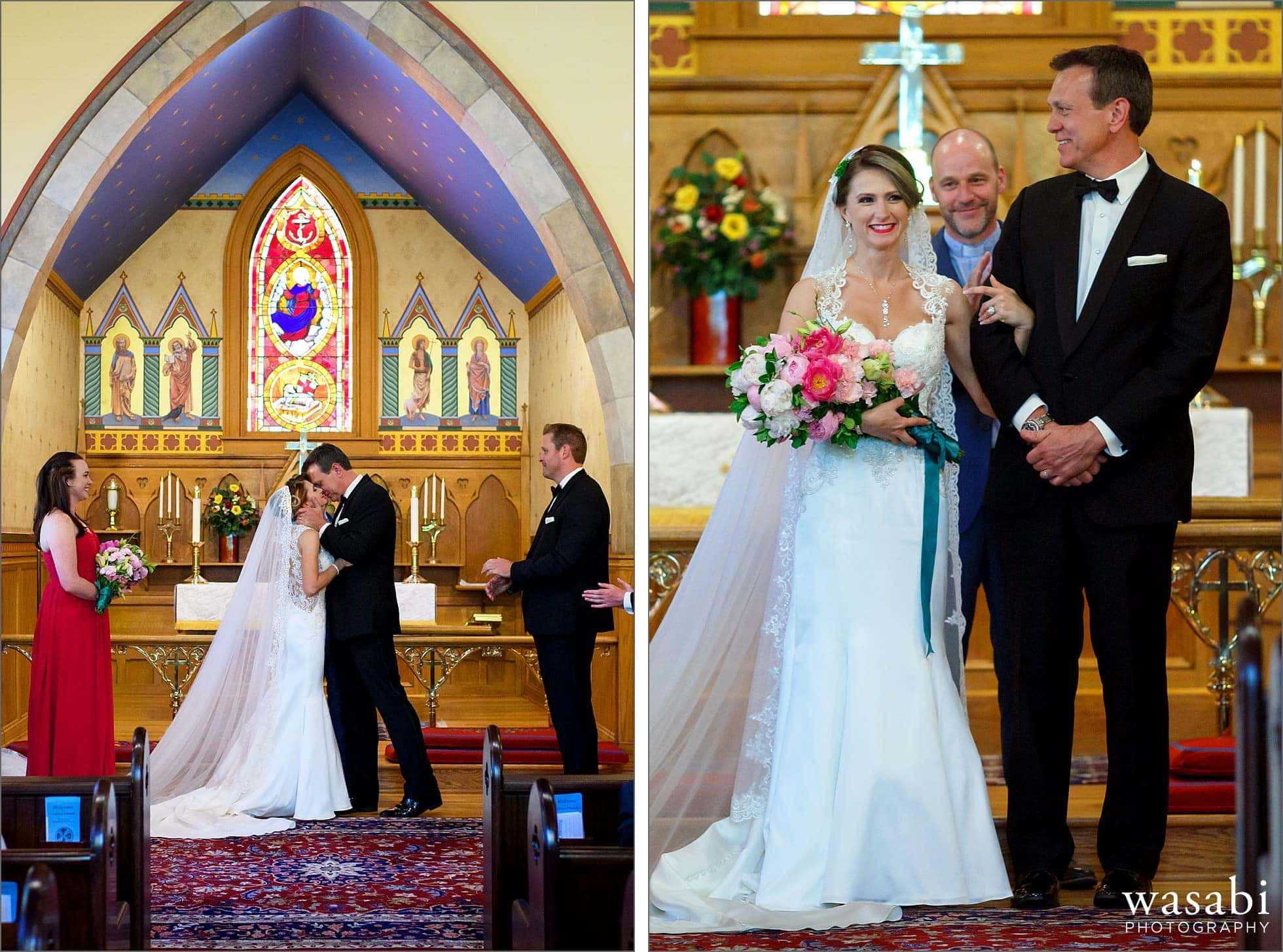 bride and groom kiss and face crowd during ceremony at Calvary Church in downtown Golden Colorado