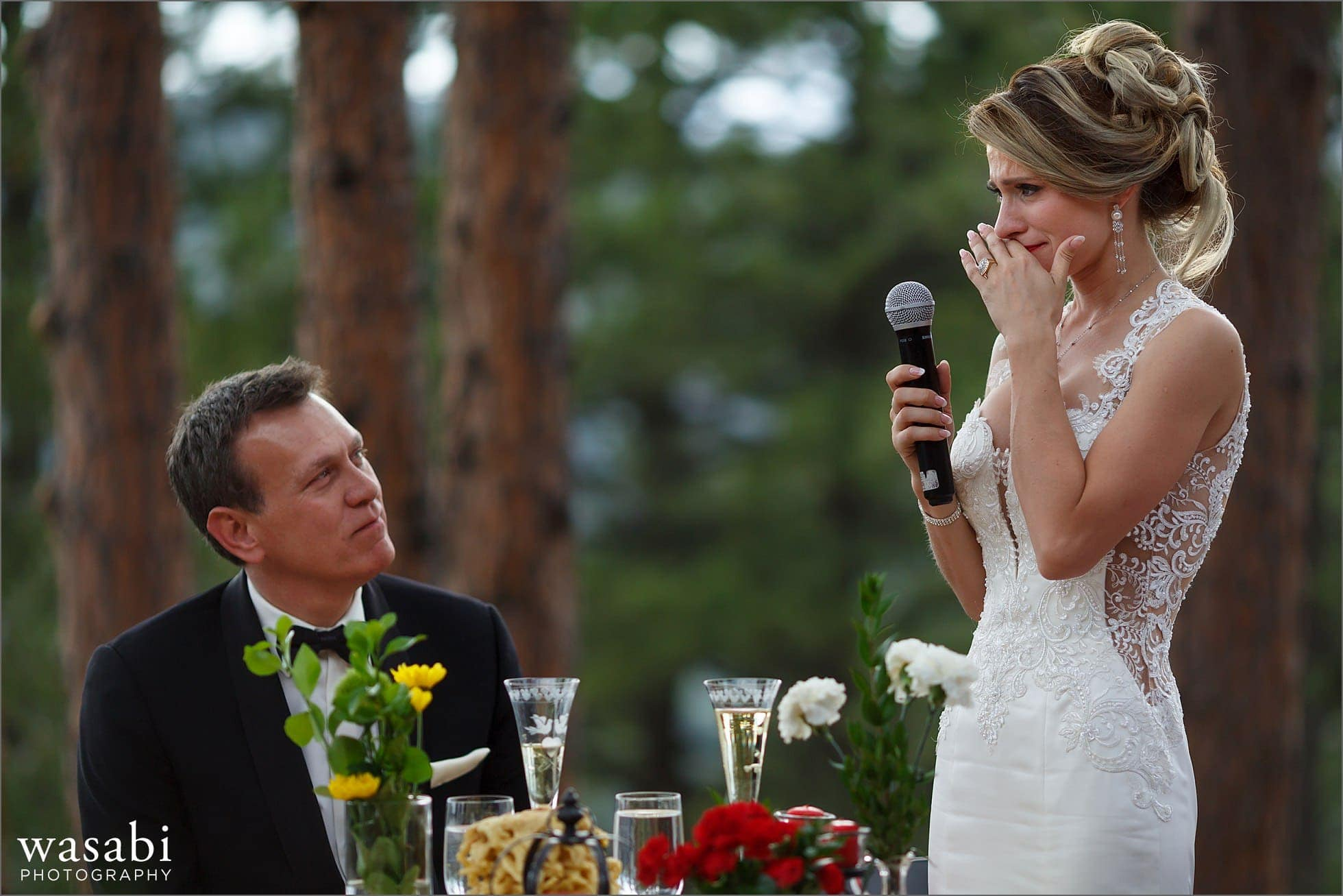 bride makes emotional speech during outdoor wedding reception on Lookout Mountain