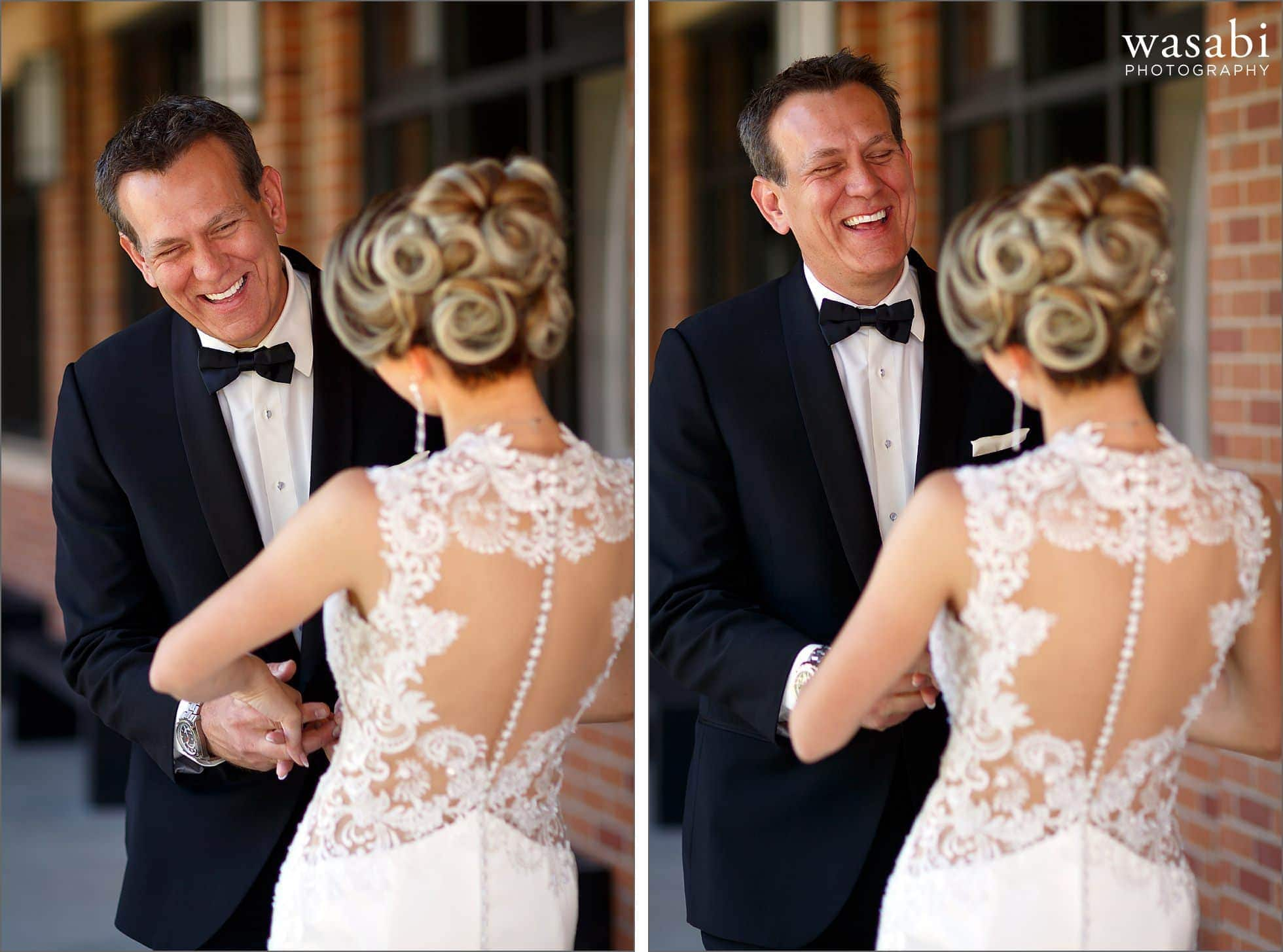 groom laughs after seeing his bride for the first time on their wedding day at Calvary Church in downtown Golden Colorado