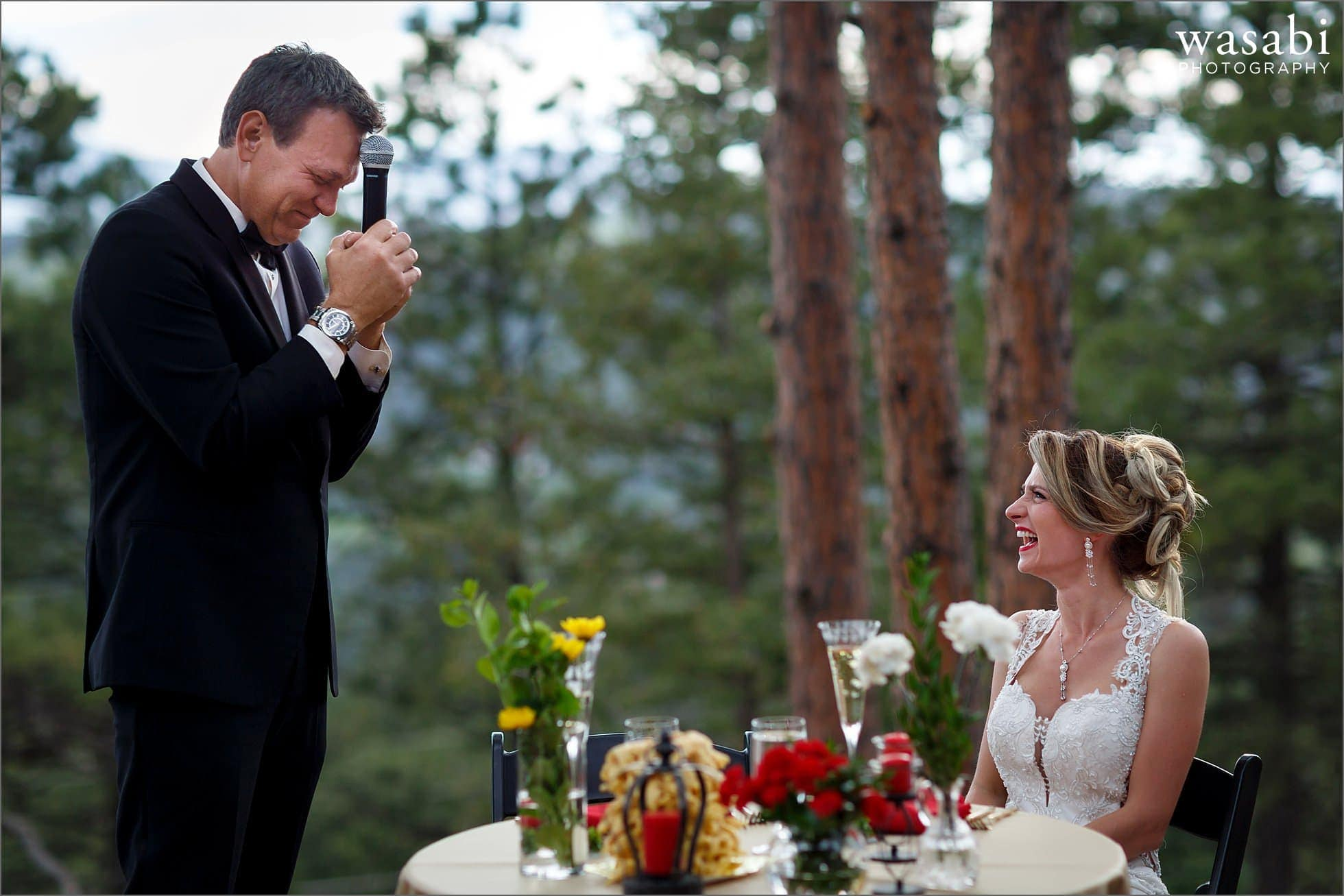 groom makes an emotional speech during outdoor wedding reception on Lookout Mountain in Golden Colorado