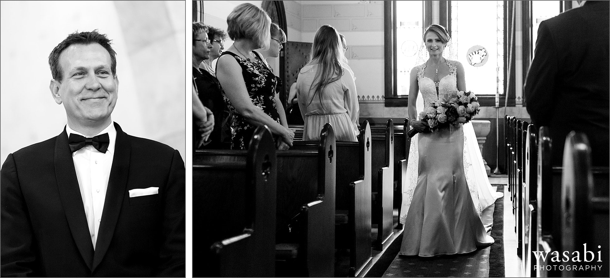 groom smiles while watching bride walk down the aisle during their wedding ceremony at Calvary Church in downtown Golden Colorado