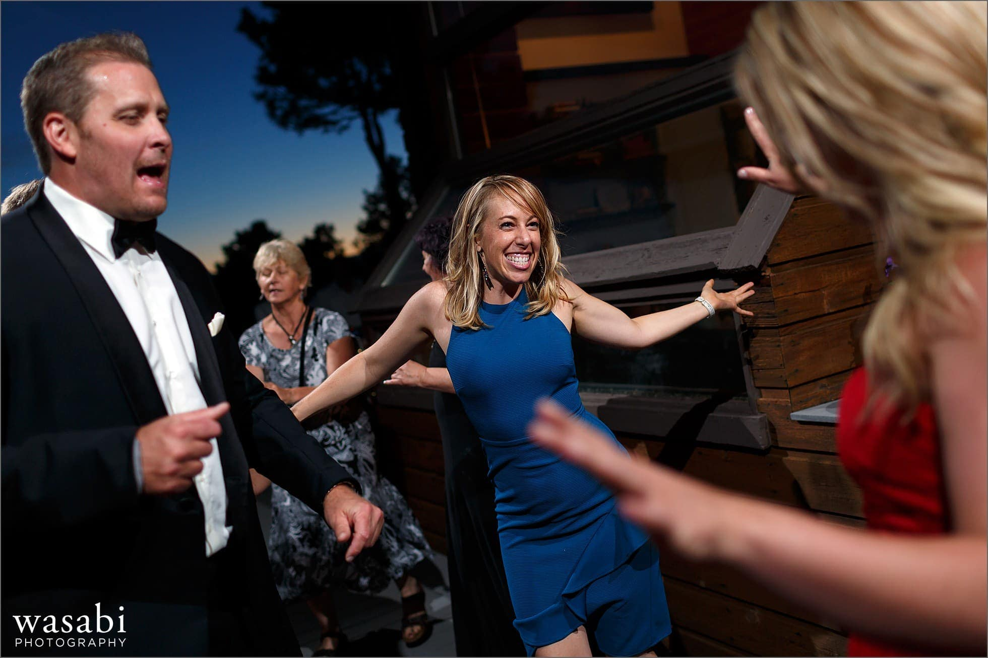 outdoor dancing photos during wedding reception at a private estate on Lookout Mountain in Golden Colorado