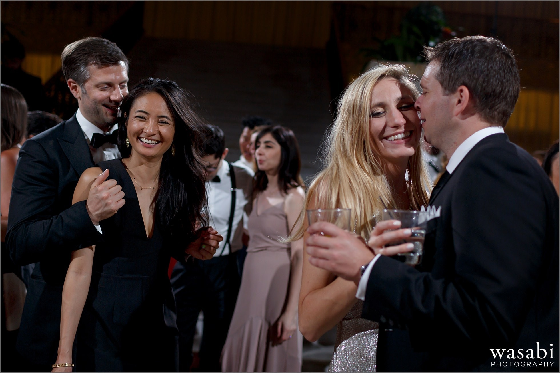 couples dancing during reception photos at The Rookery Building in Chicago