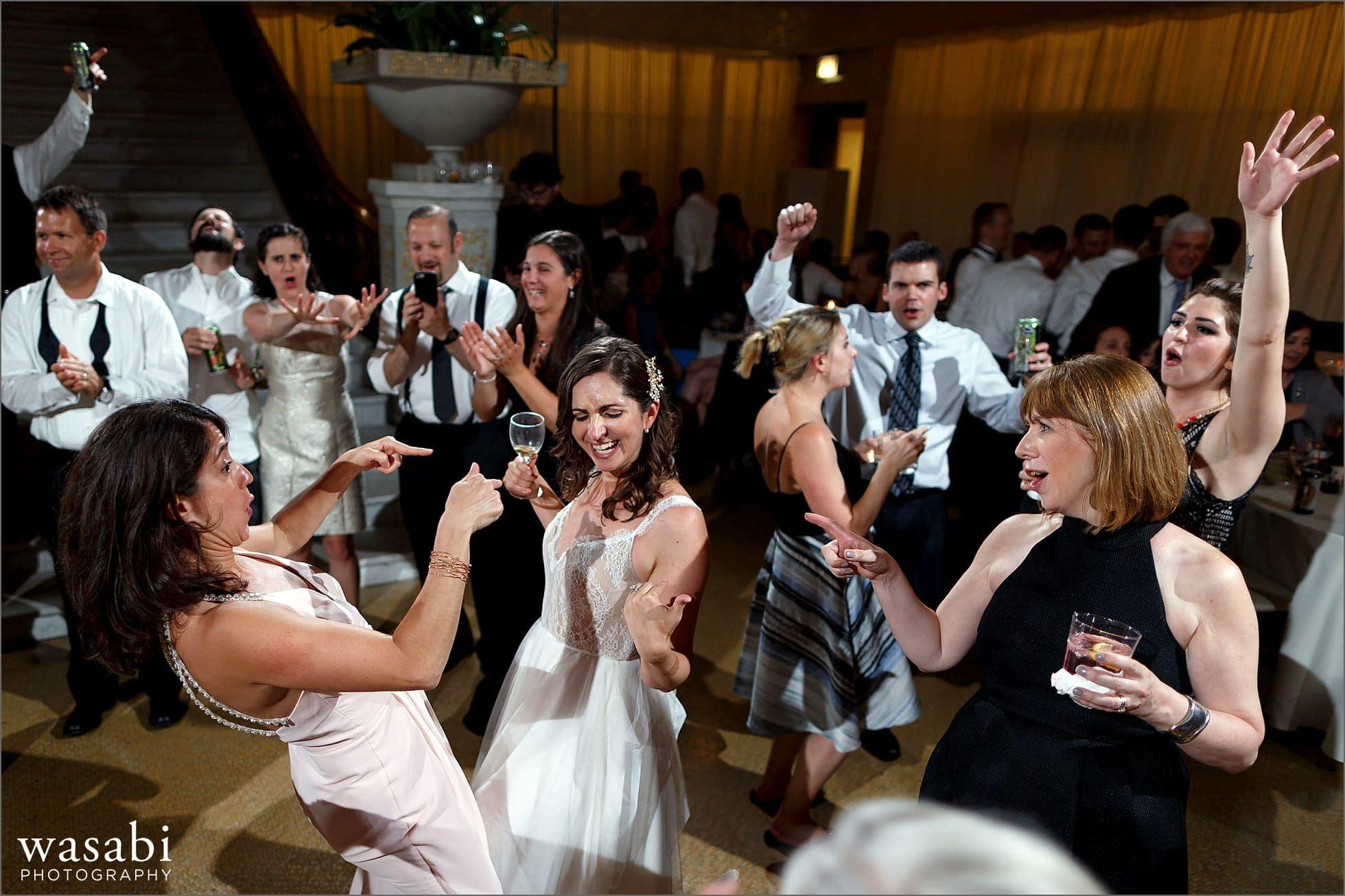 dance party during reception at The Rookery Building in Chicago
