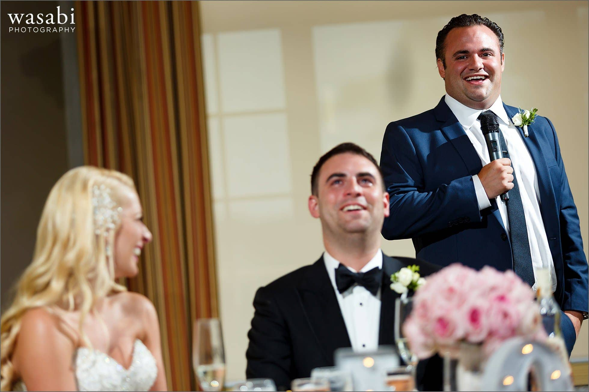 best man toast with couples reaction during reception at Crystal Tree Country Club in Orland Park
