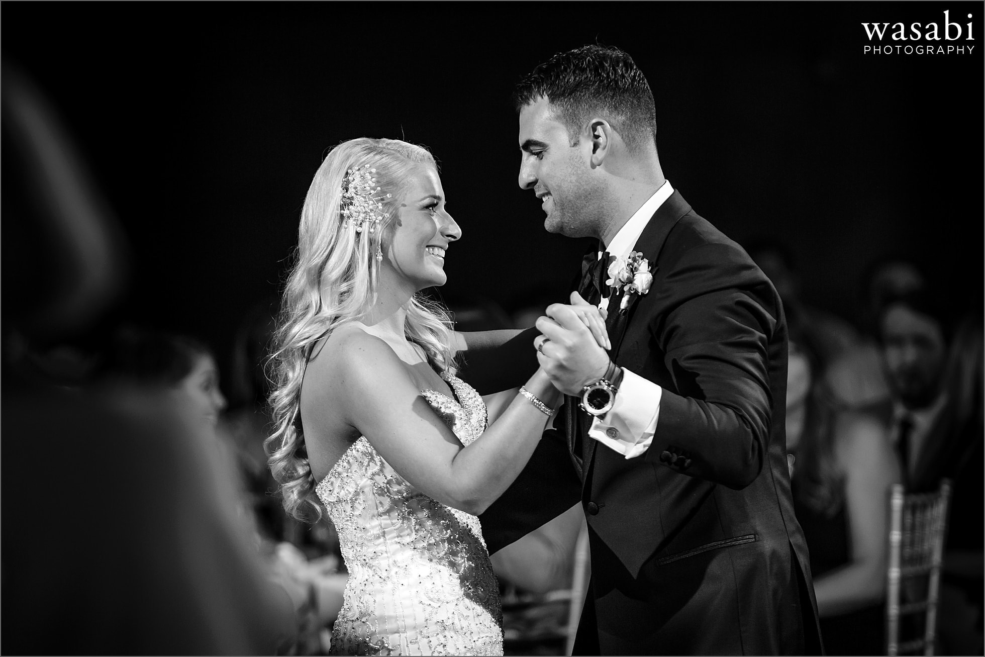 bride and groom first dance during reception at Crystal Tree Country Club in Orland Park