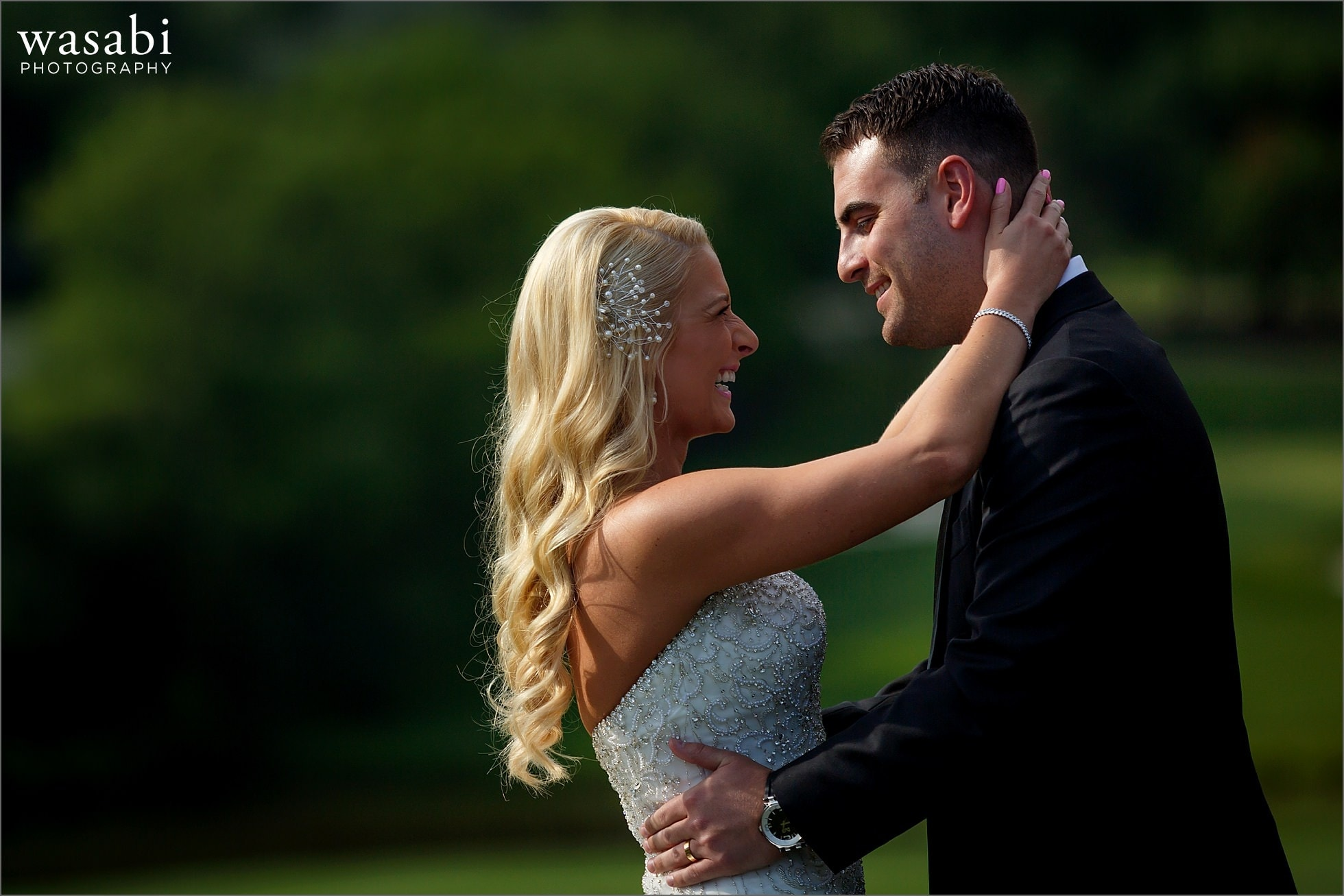 bride and groom kiss during Crystal Tree Country Club in Orland Park wedding