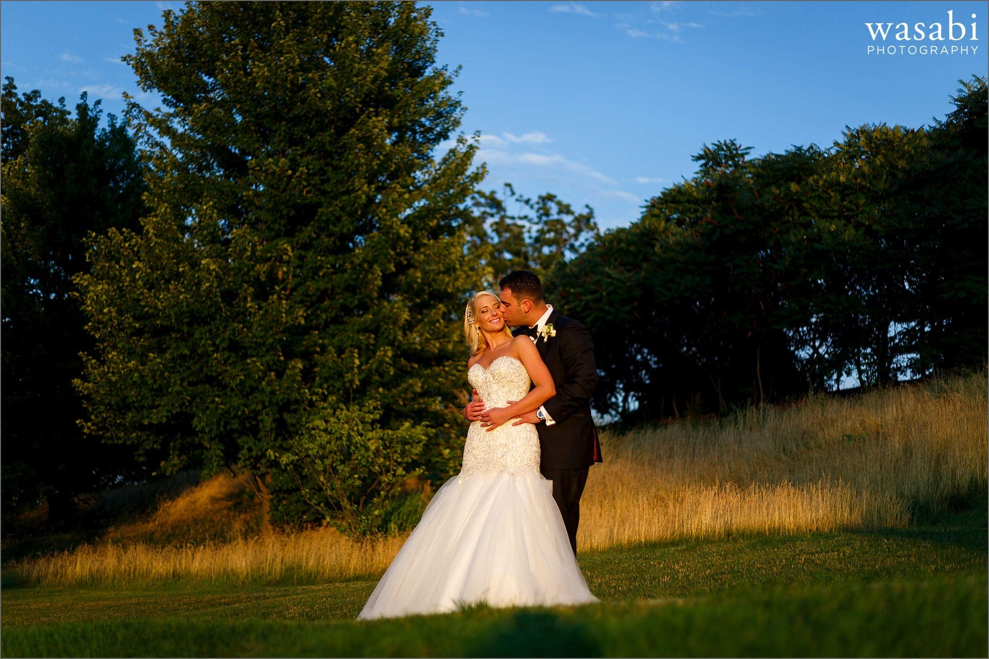 bride and groom portraits at sunset during Crystal Tree Country Club in Orland Park wedding photos