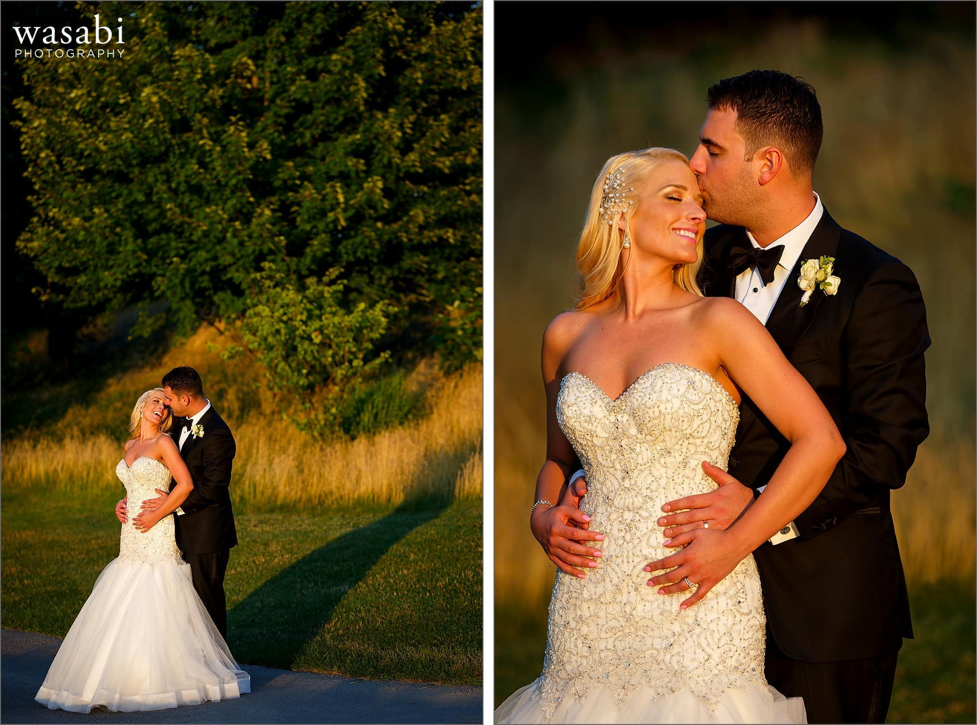 bride and groom portraits at sunset during wedding at Crystal Tree Country Club in Orland Park