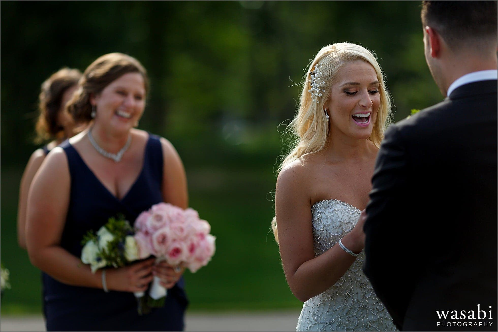 bride reads vows during outdoor wedding ceremony eremony golf course wedding at Crystal Tree Country Club in Orland Park