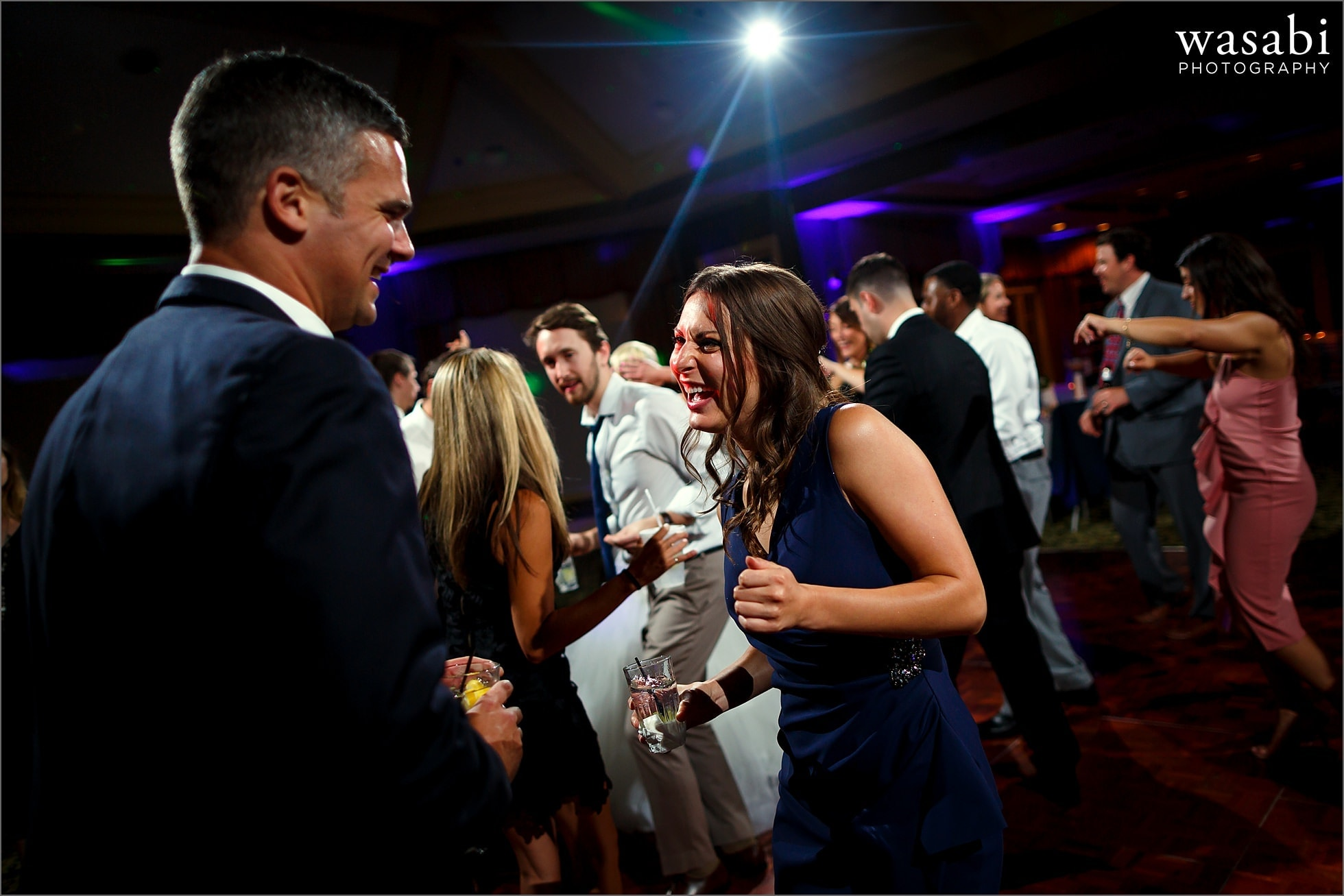 couple dances during wedding reception at Crystal Tree Country Club in Orland Park
