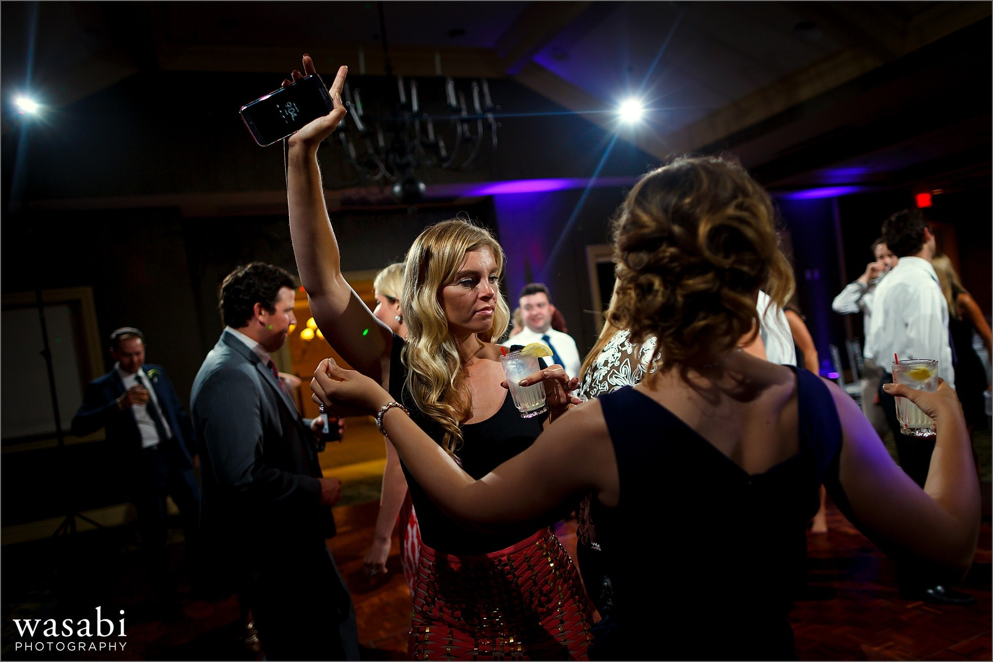 guests dancing during wedding reception at Crystal Tree Country Club in Orland Park