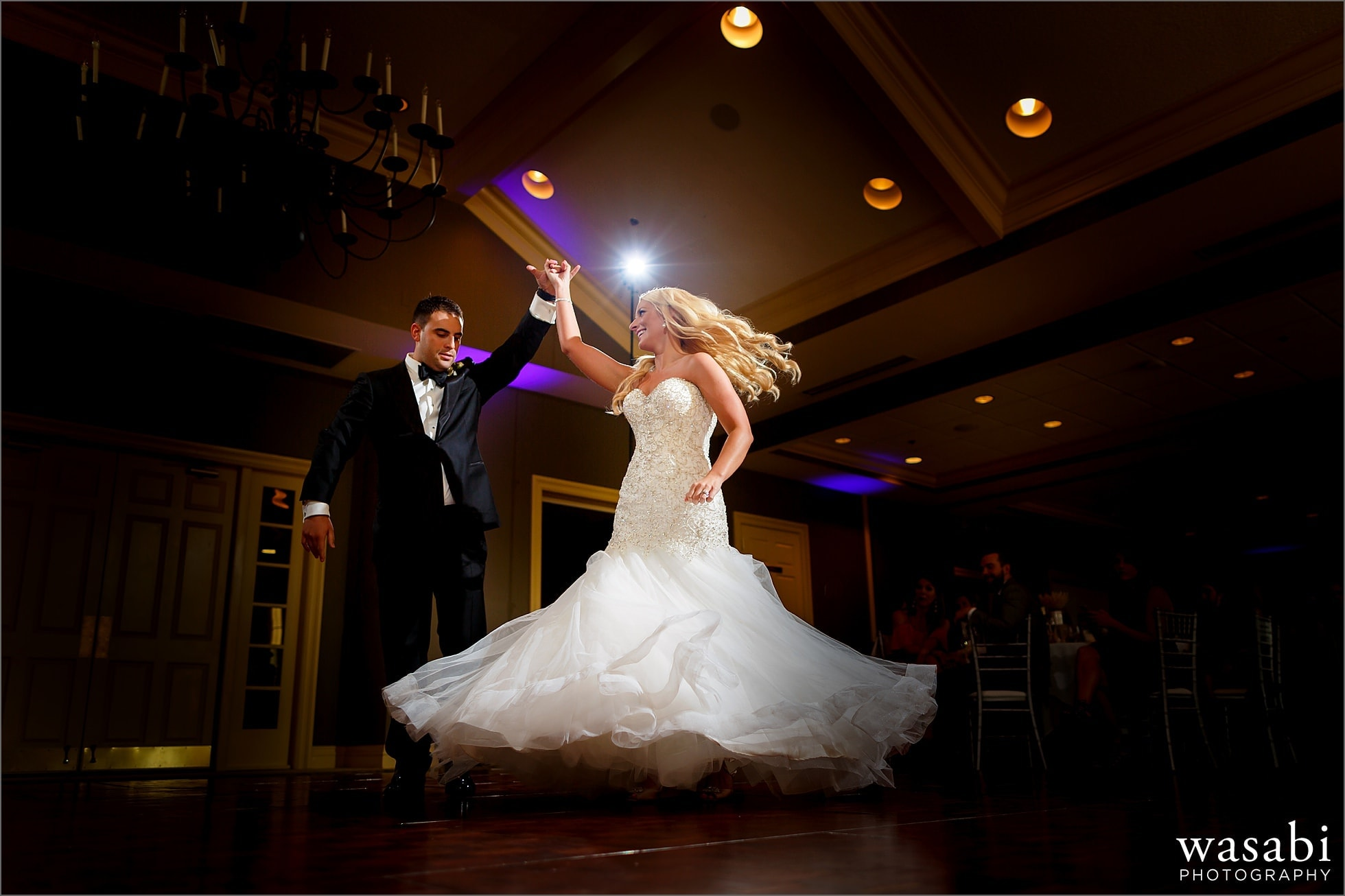 wide angle bride and groom first dance during reception at Crystal Tree Country Club in Orland Park