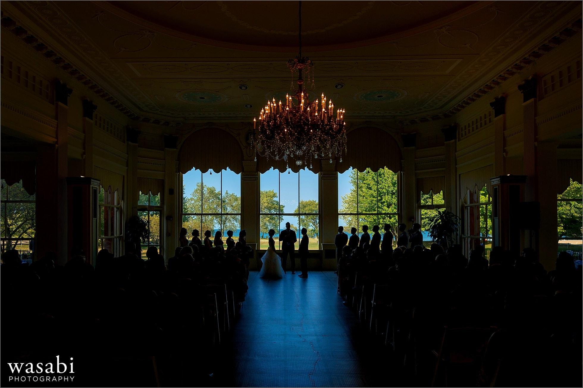 South Shore Cultural Center wedding photos wide angle of solarium