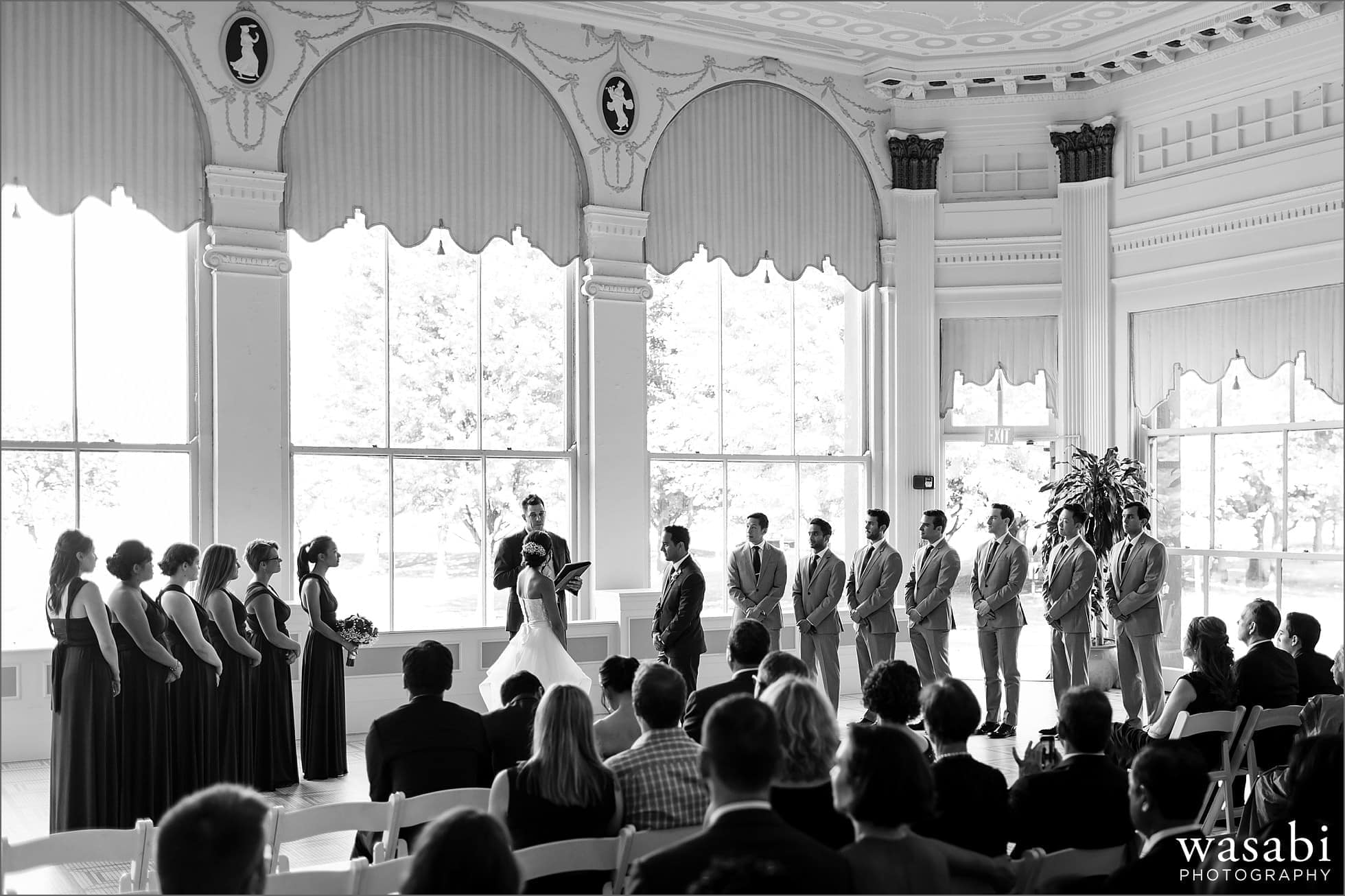 South Shore Cultural Center wedding photos wide angle of solarium with entire wedding party in solarium